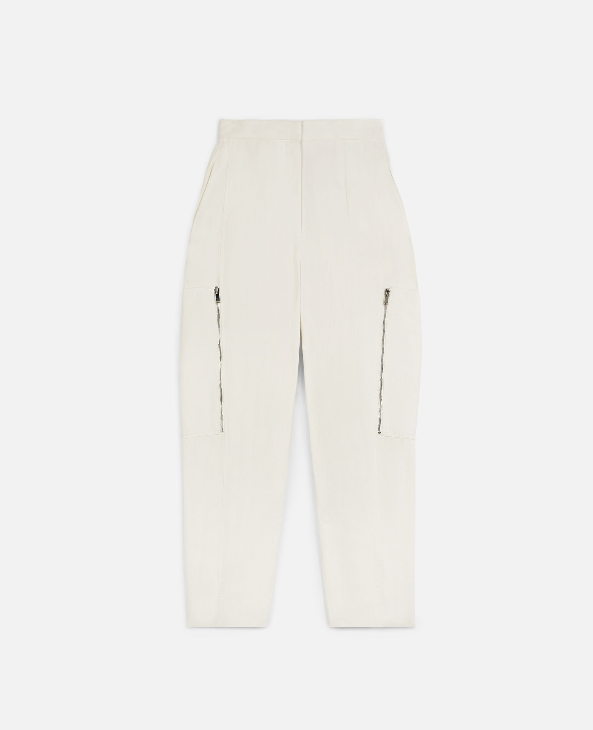 Karla Compact Cotton Trousers-White-large image number 0