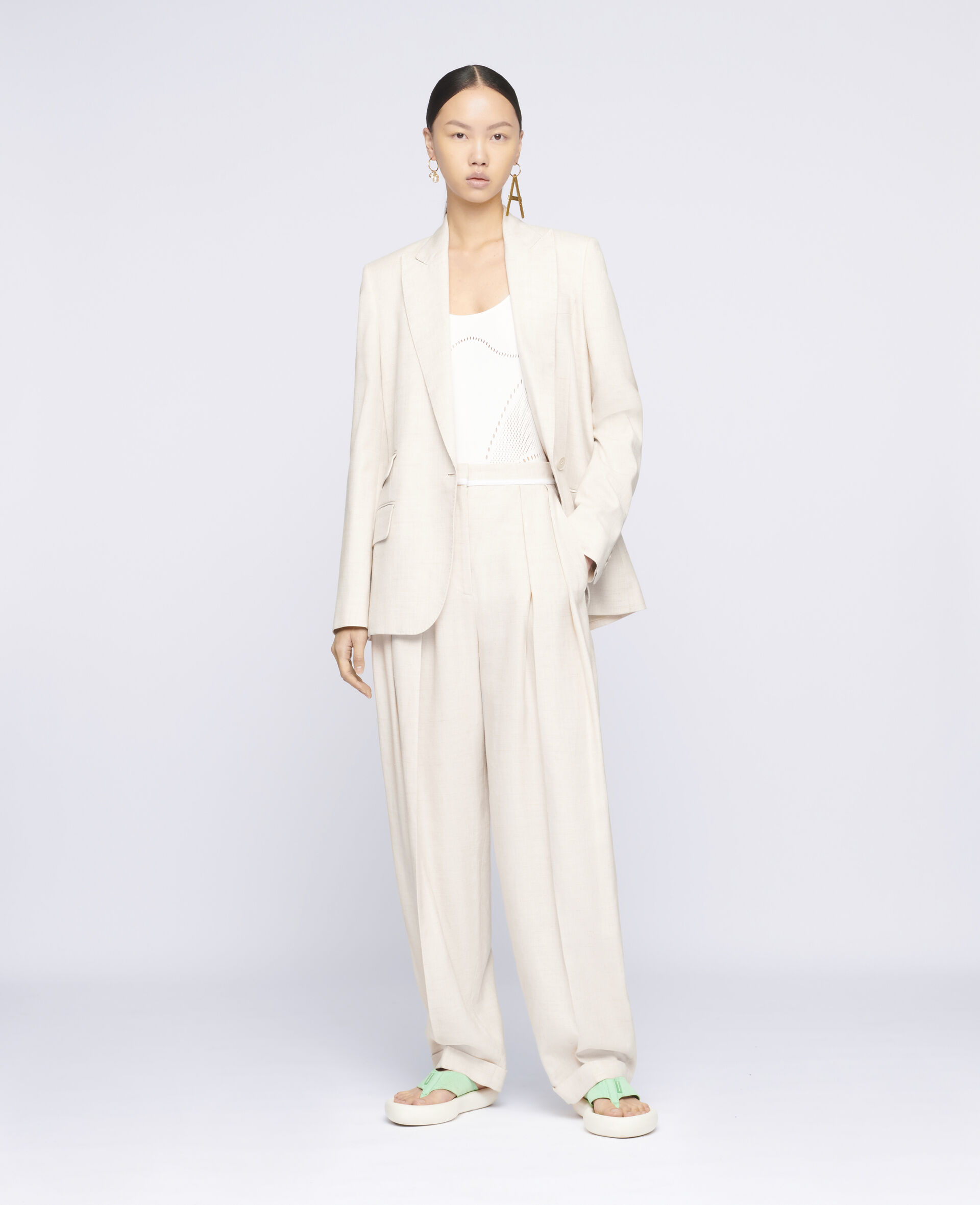 Ariana Tailored Trousers-Beige-large image number 1