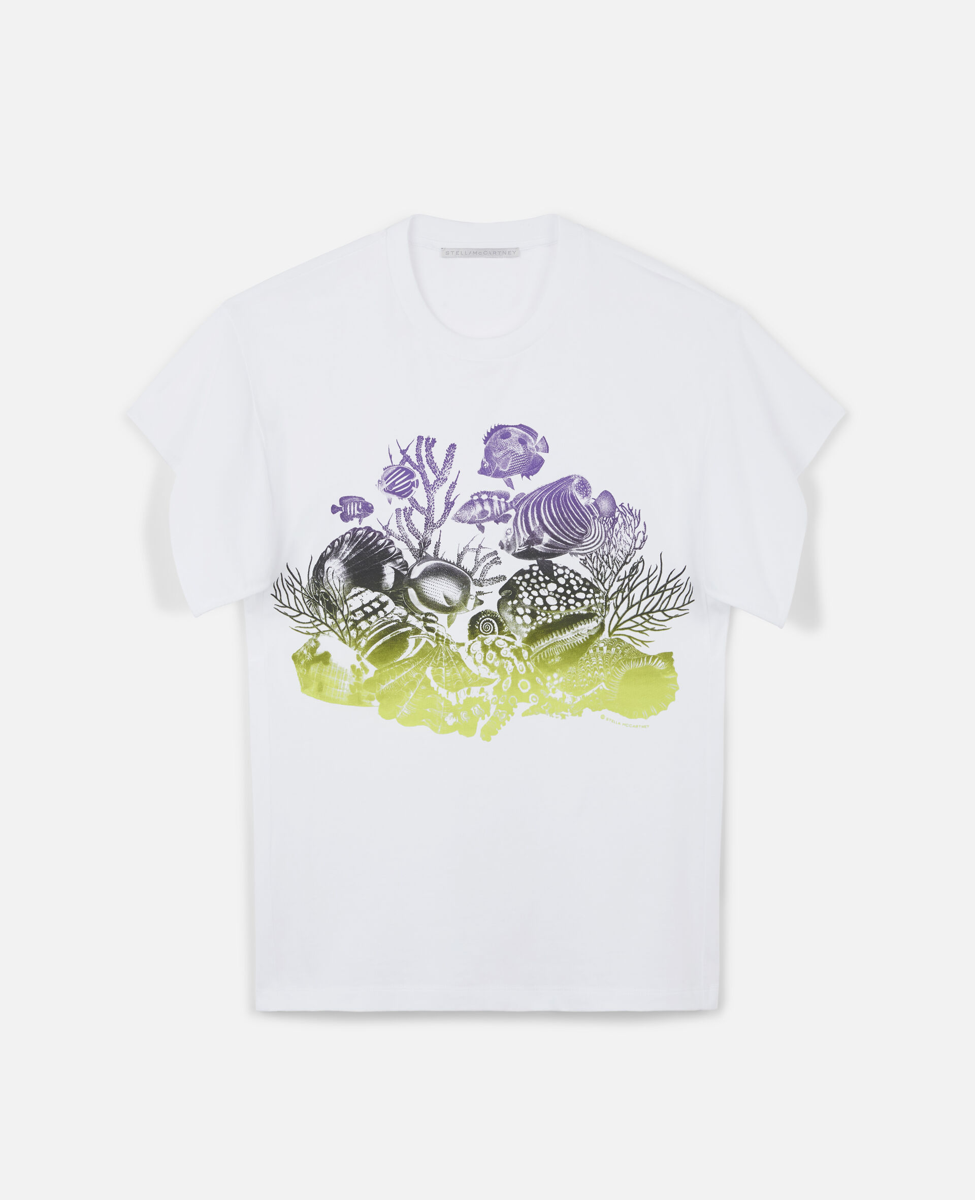 Sealife Print Cotton T-Shirt-White-large image number 0