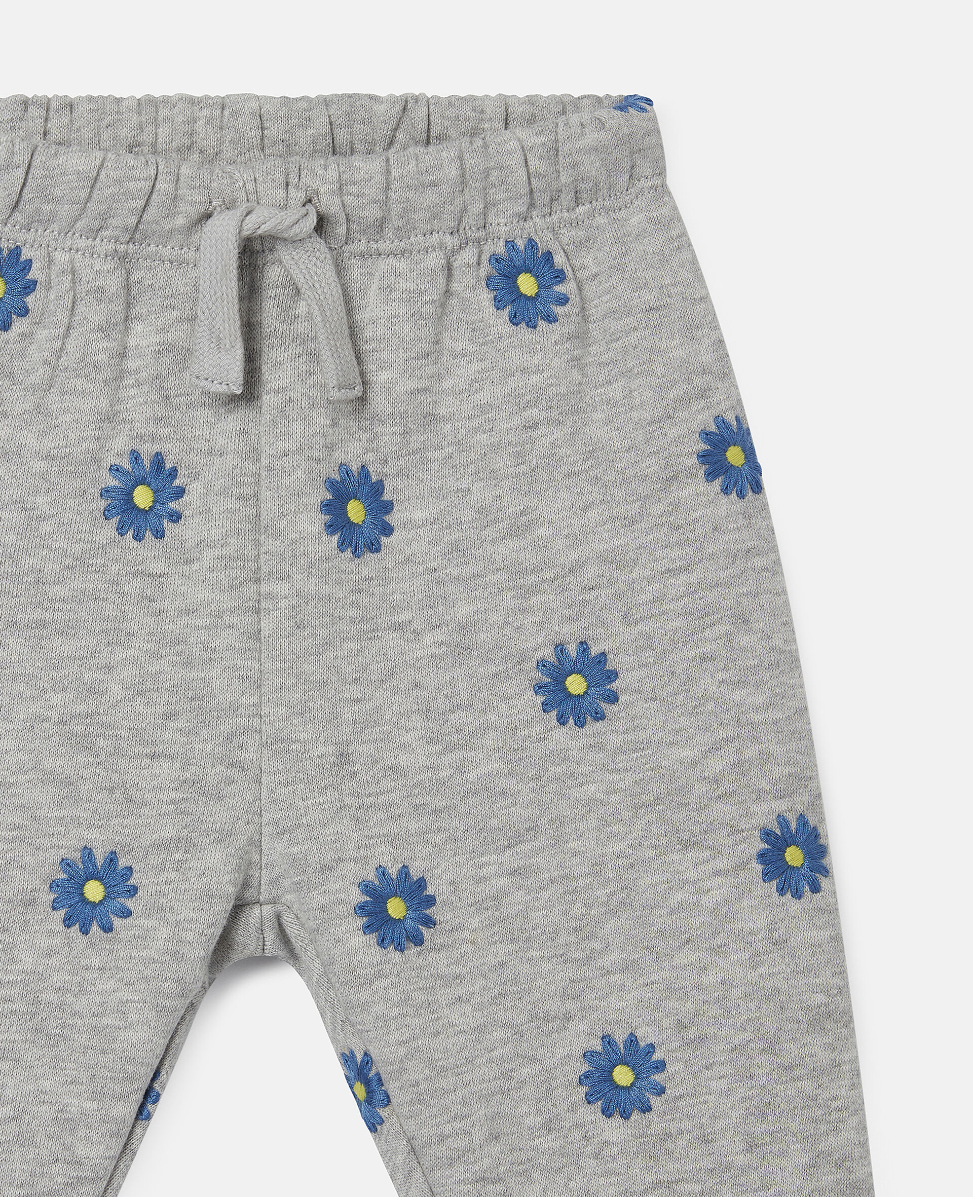 Embroidered Daisies Cotton Fleece Joggers-Grey-large image number 1