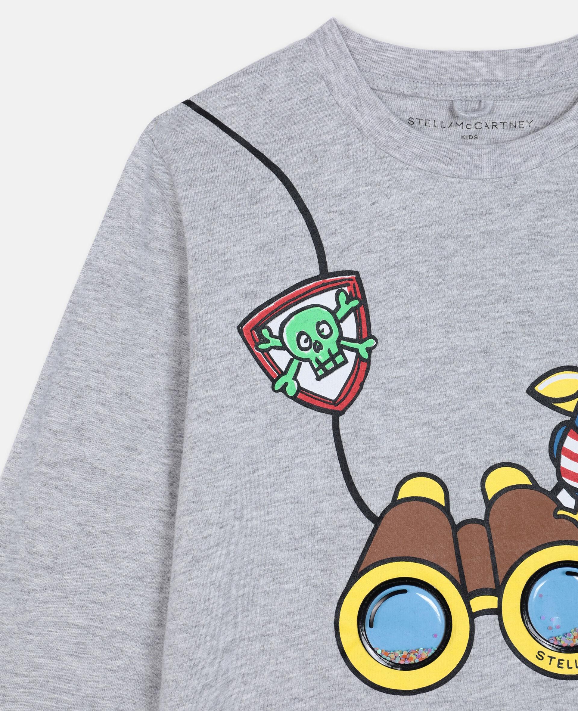 T-Shirt in Cotone con Binocolo 3D -Grigio-large image number 2