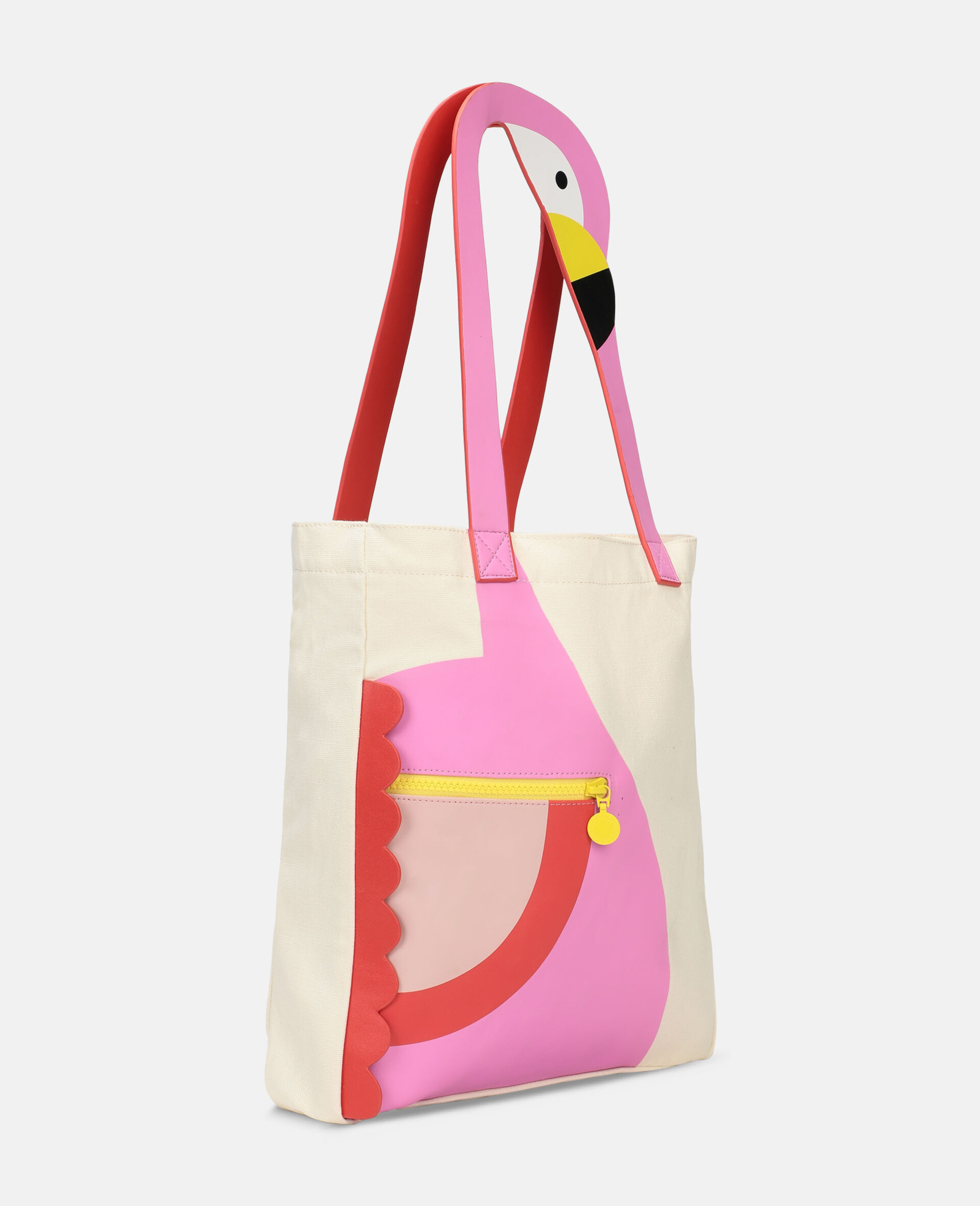 Flamingo Canvas Tote Bag -White-large image number 1