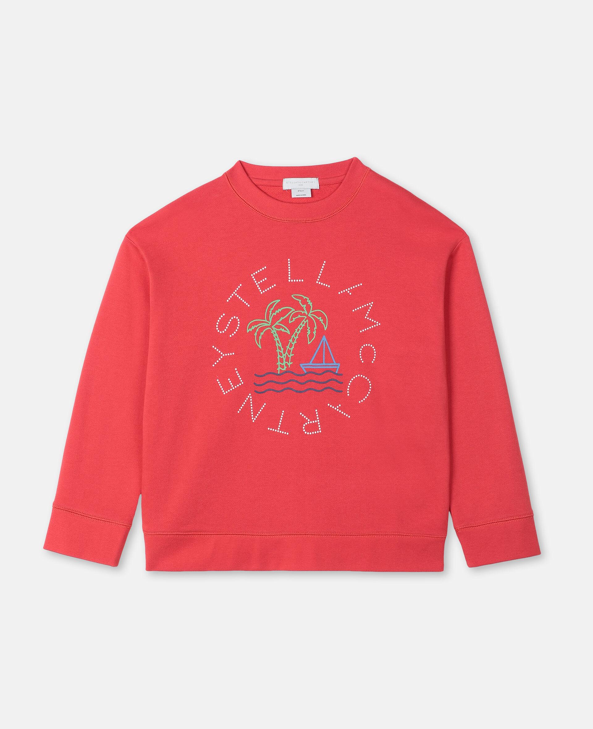 Oversize Logo Sailing Cotton Sweatshirt -Red-large image number 0