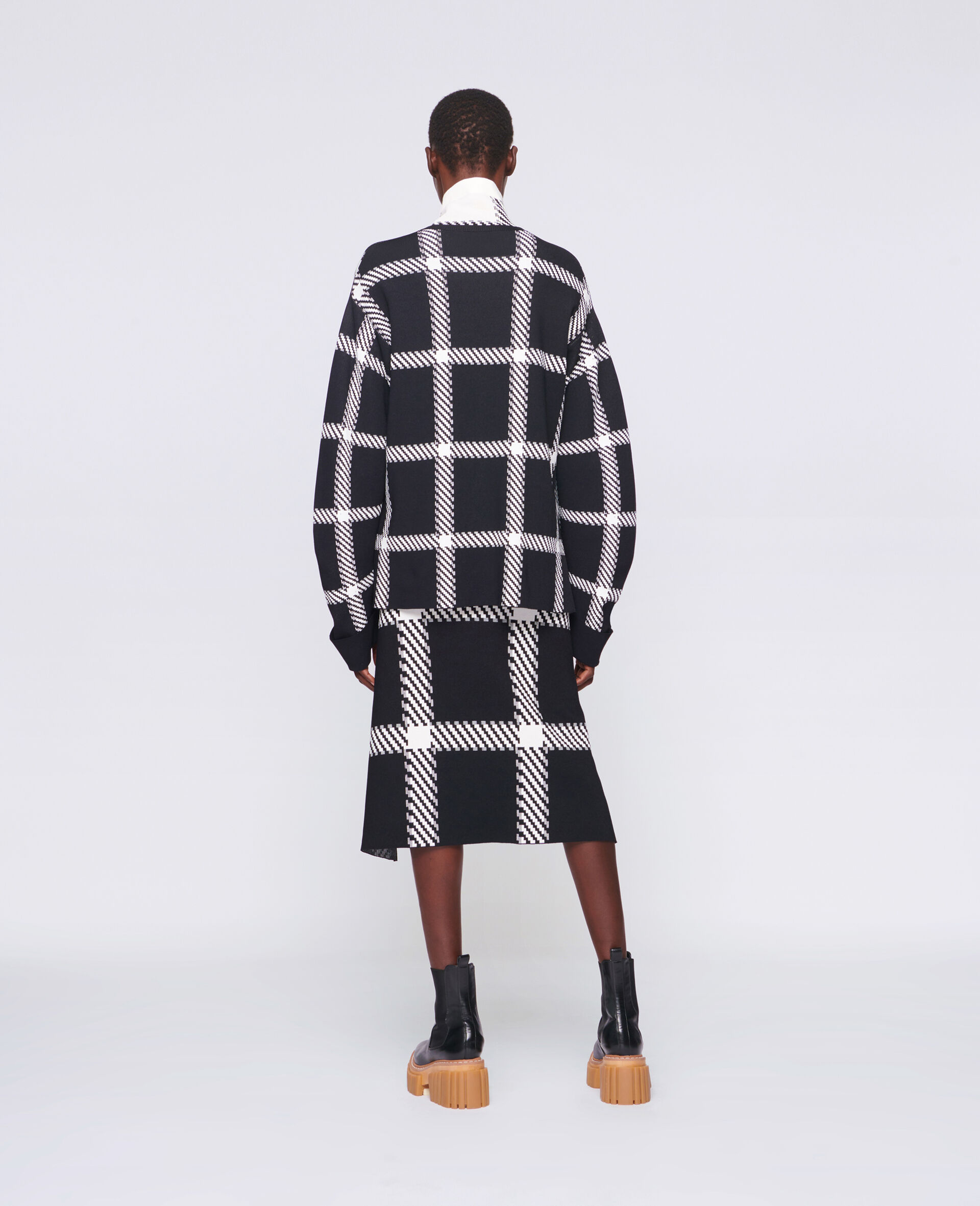 Knit Check Skirt-Multicolour-large image number 2