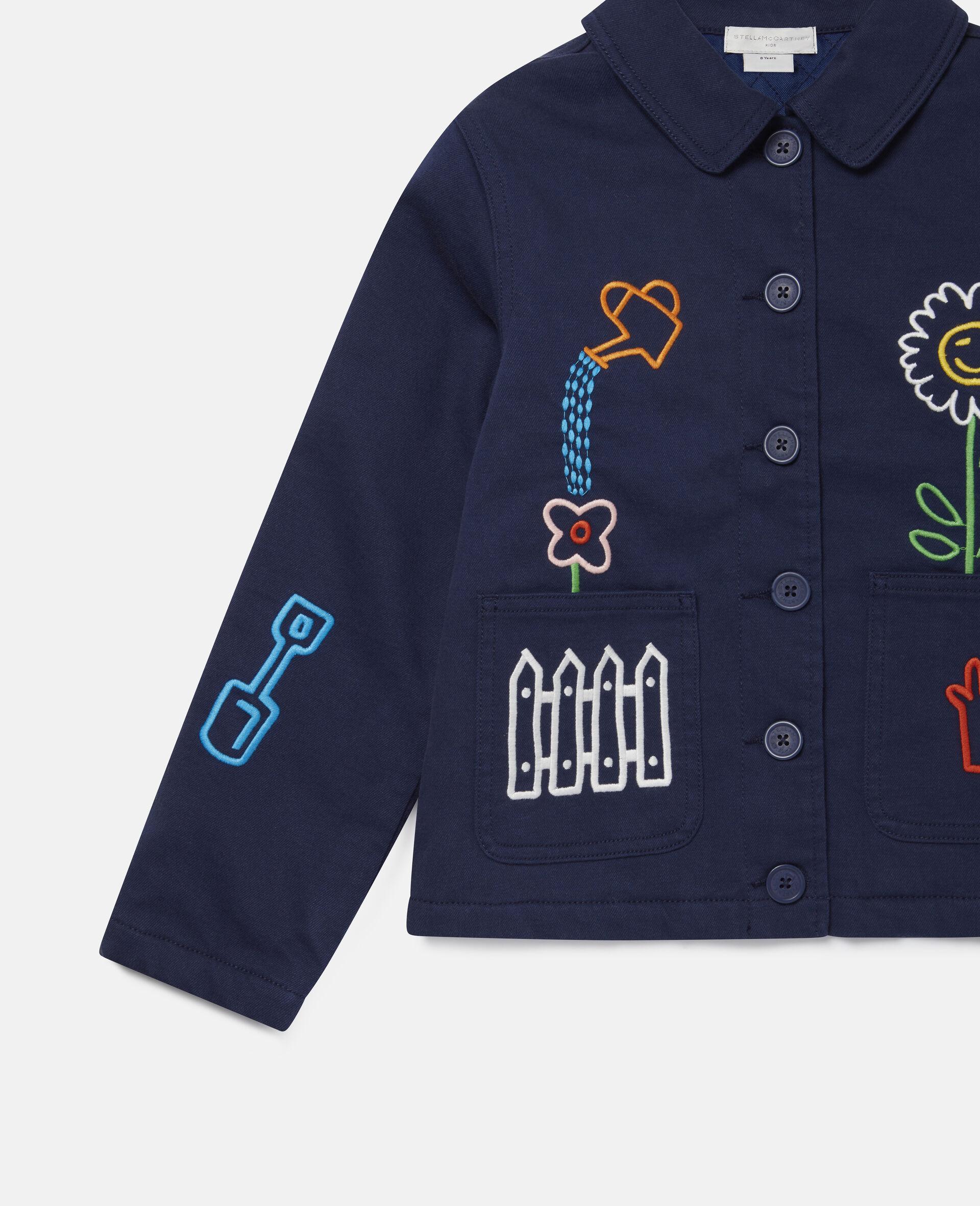 Denim-Jacke mit Garten-Stickerei -Blau-large image number 2