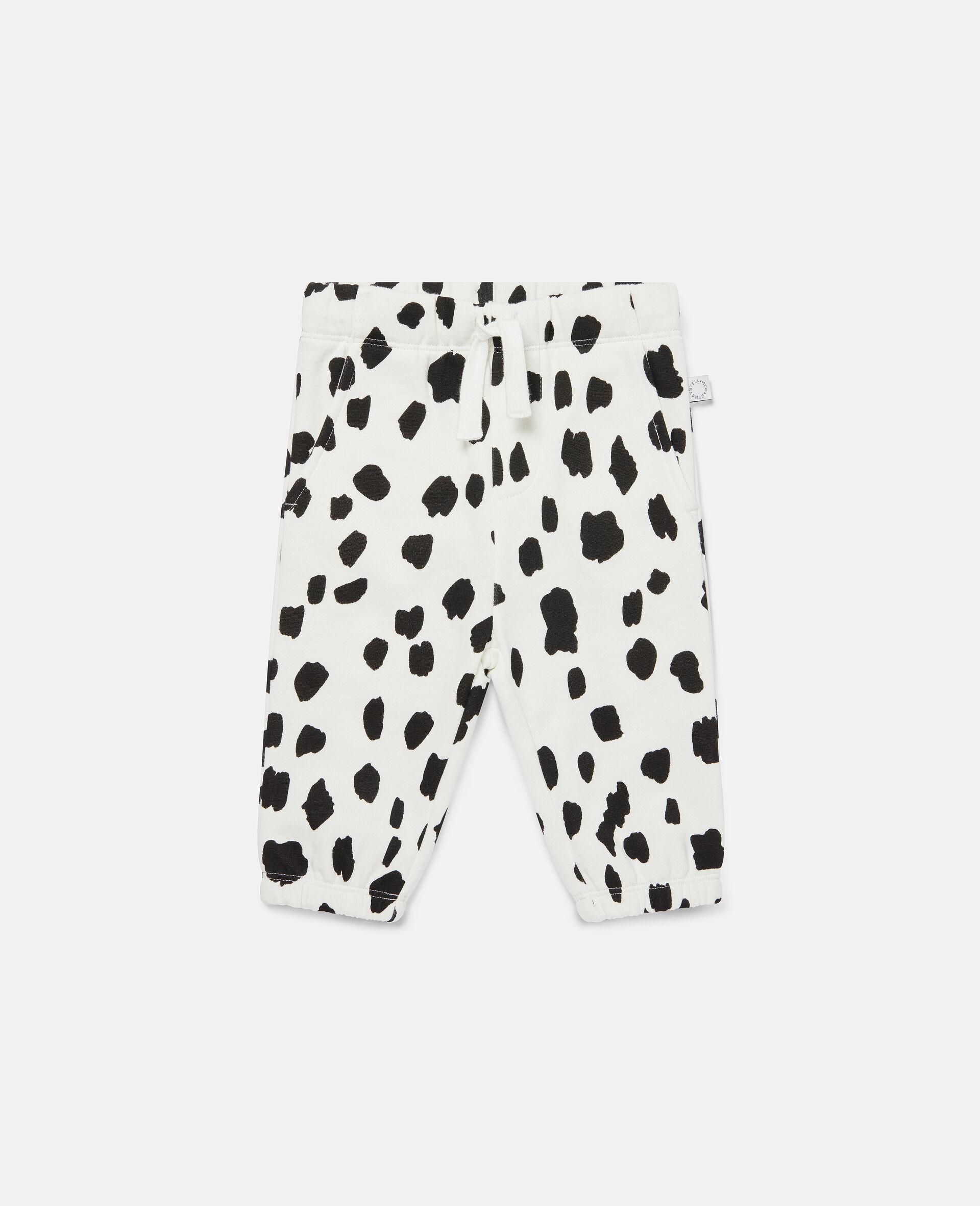 Dalmatian Spots Fleece Joggers-White-large image number 0