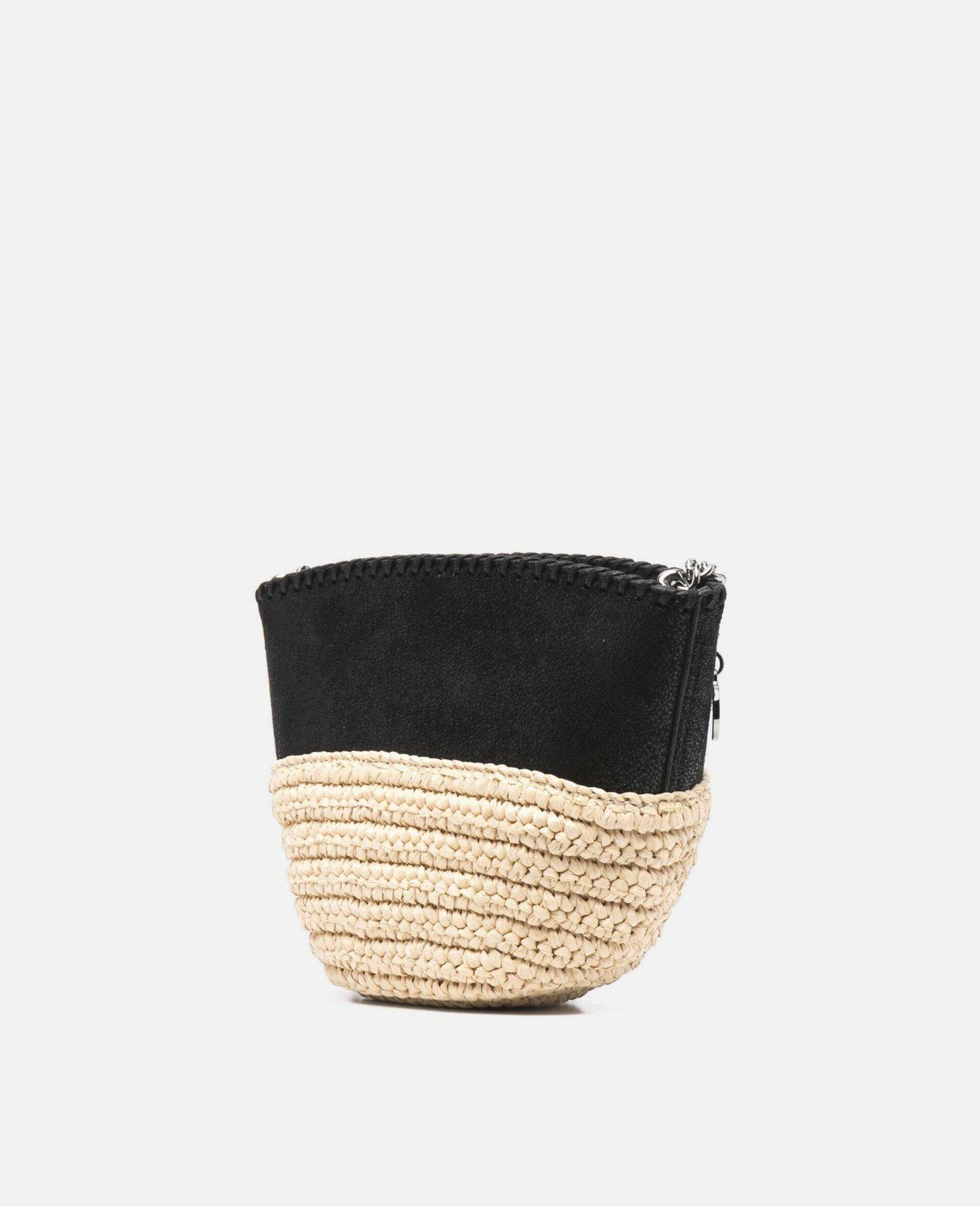 Mini sac porté épaule Falabella en raphia  -Noir-large image number 1
