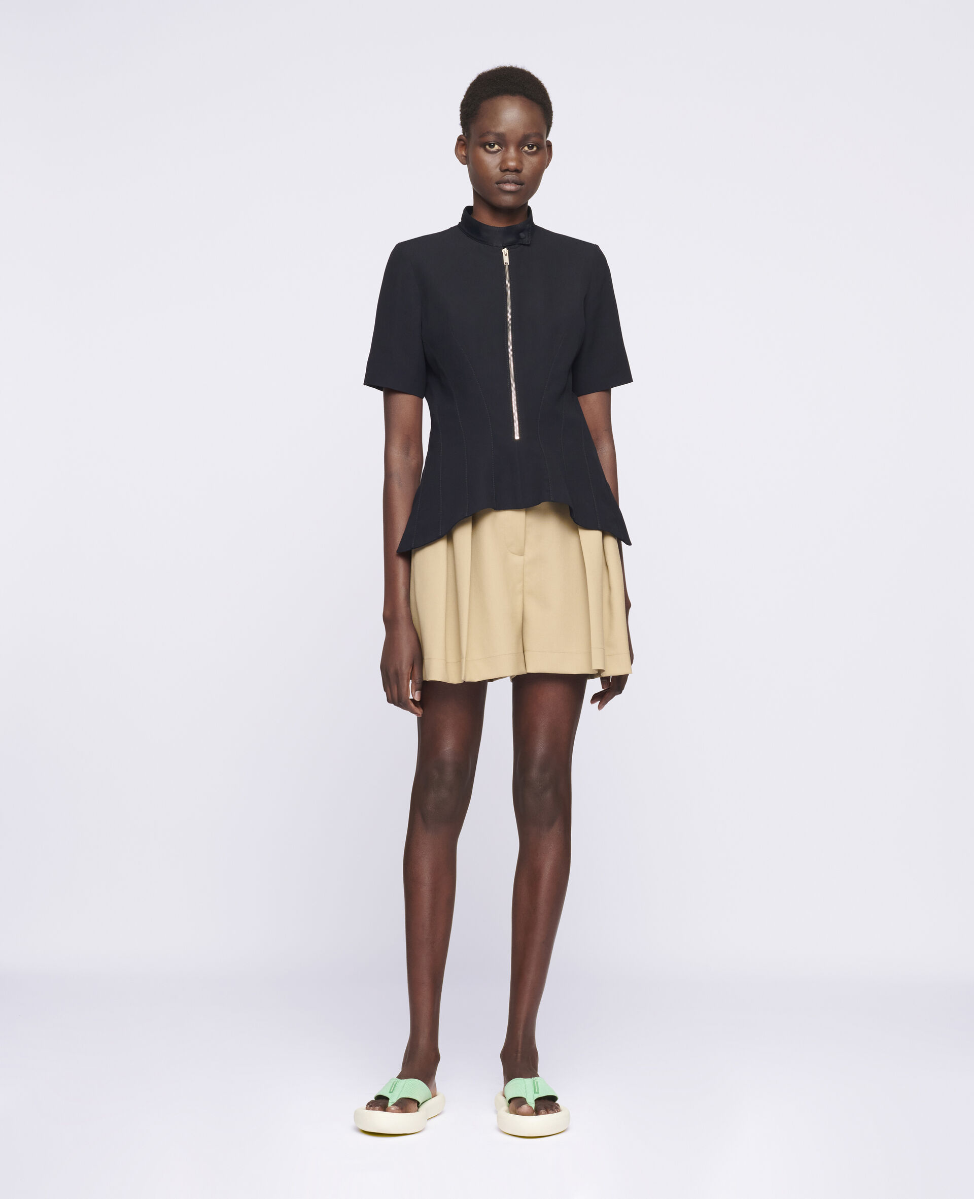 Ariel Wool Shorts -Beige-large image number 1