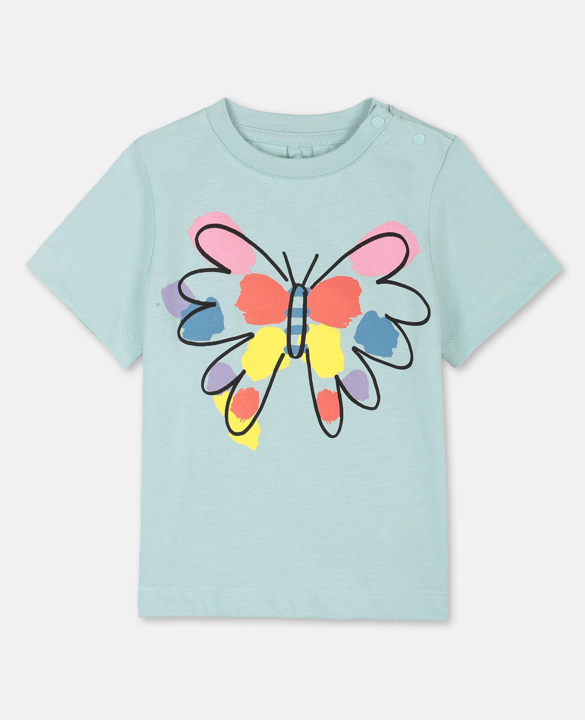 T-Shirt aus Baumwolle mit Schmetterling-Print-Grün-large image number 0