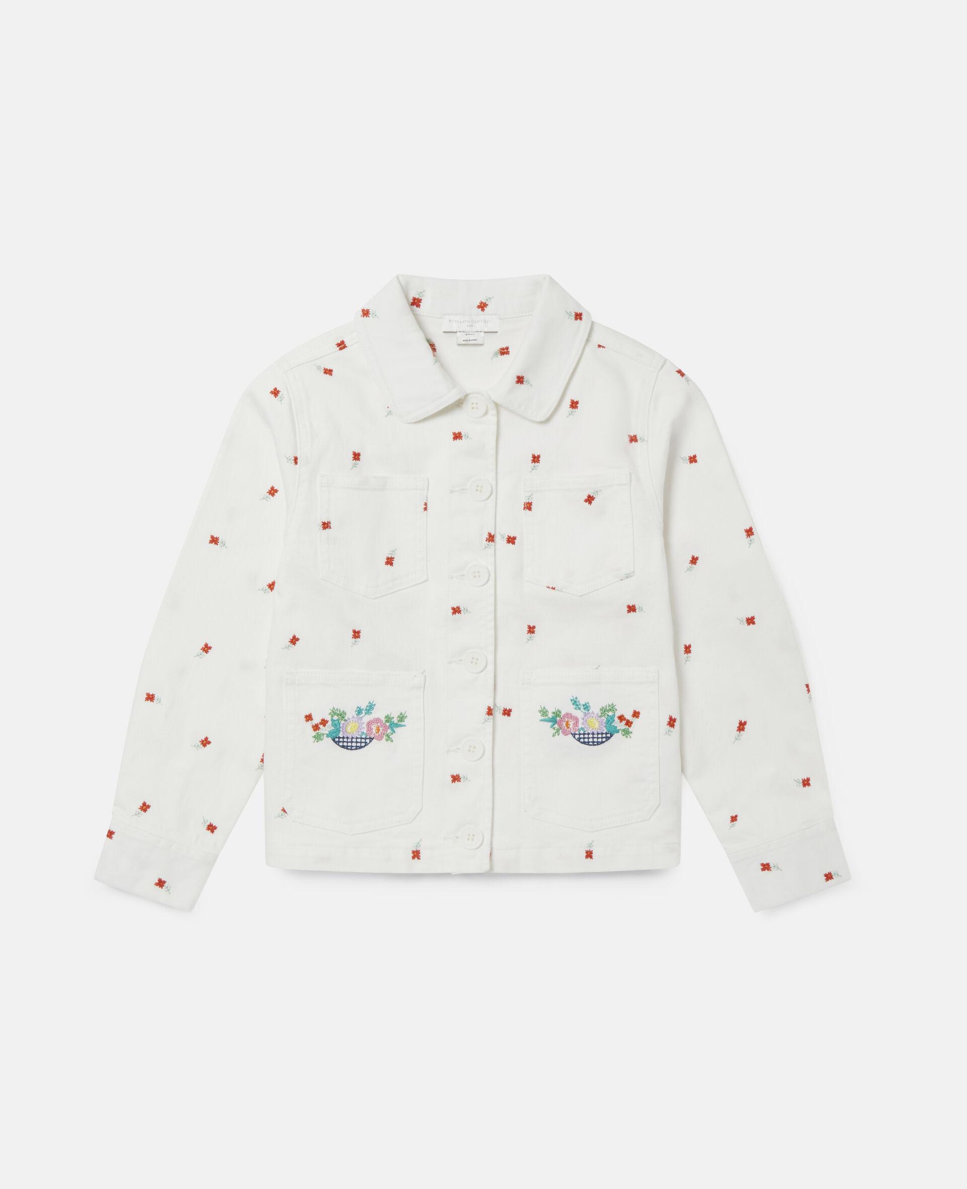 Embroidered Flowers Denim Jacket -White-large image number 0