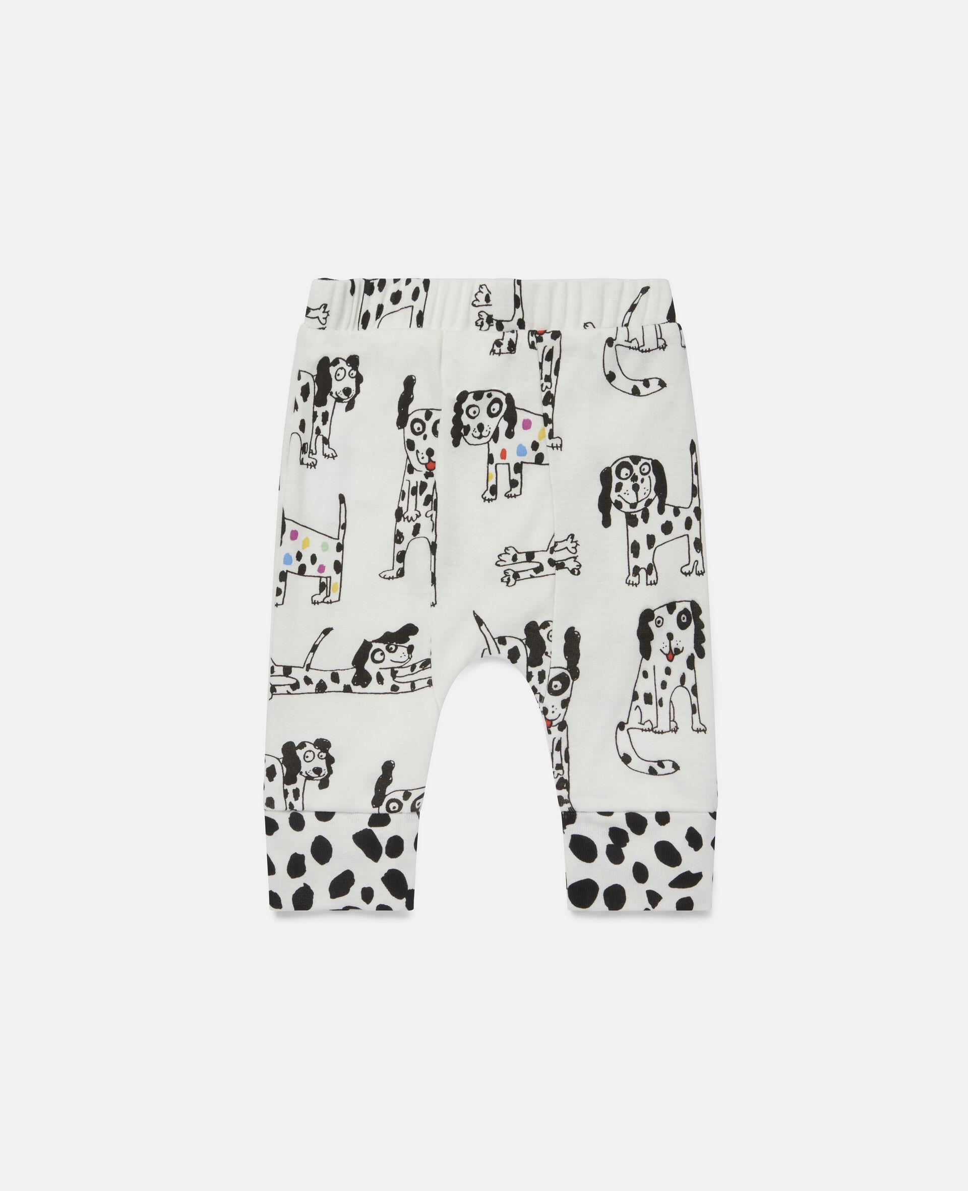 "Doodle Leggings aus geripptem Jersey mit ""Doodle Dalmatians""-Motiv-Weiß-large image number 3"