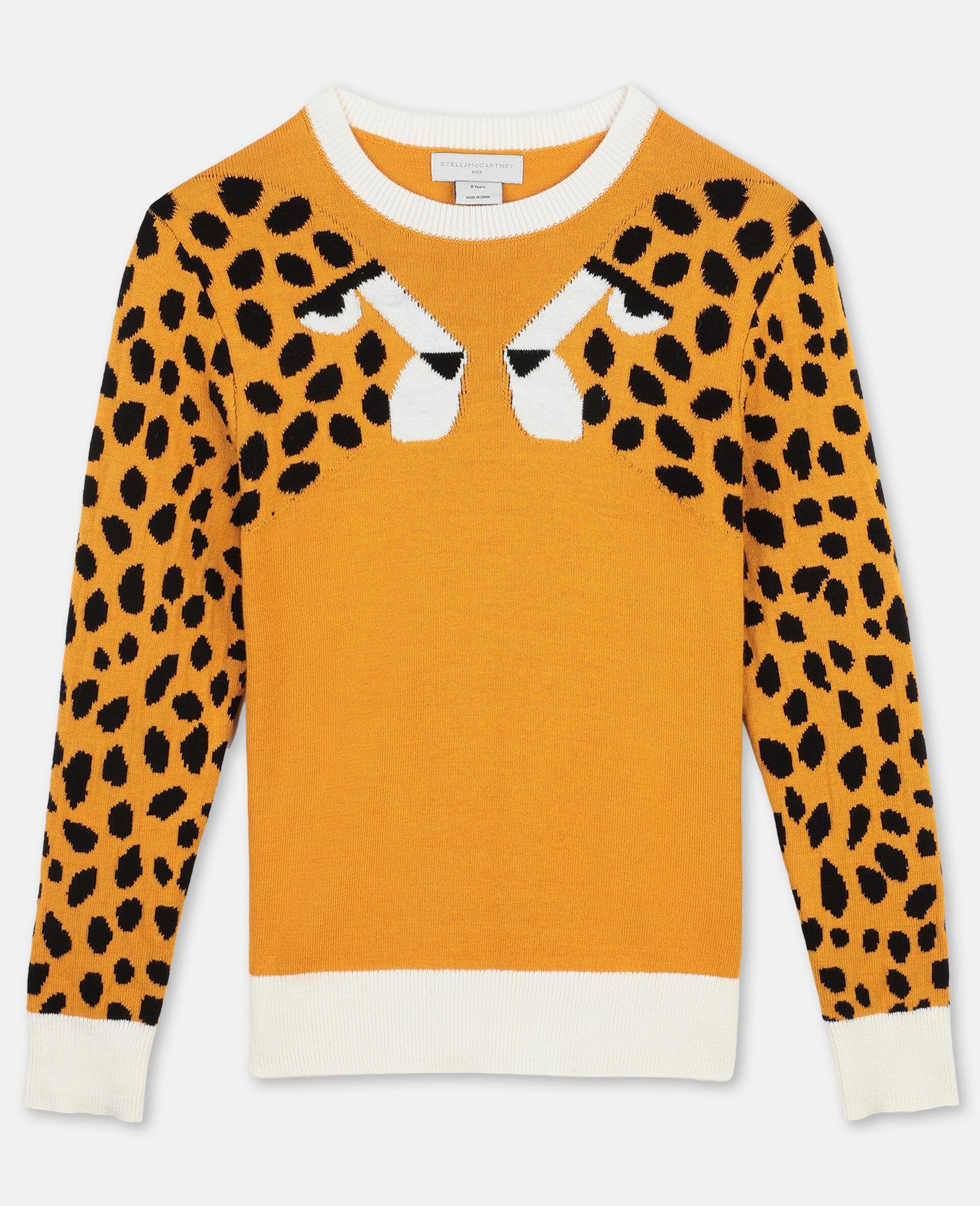 Pull en maille intarsia à motif guépard -Orange-large image number 0