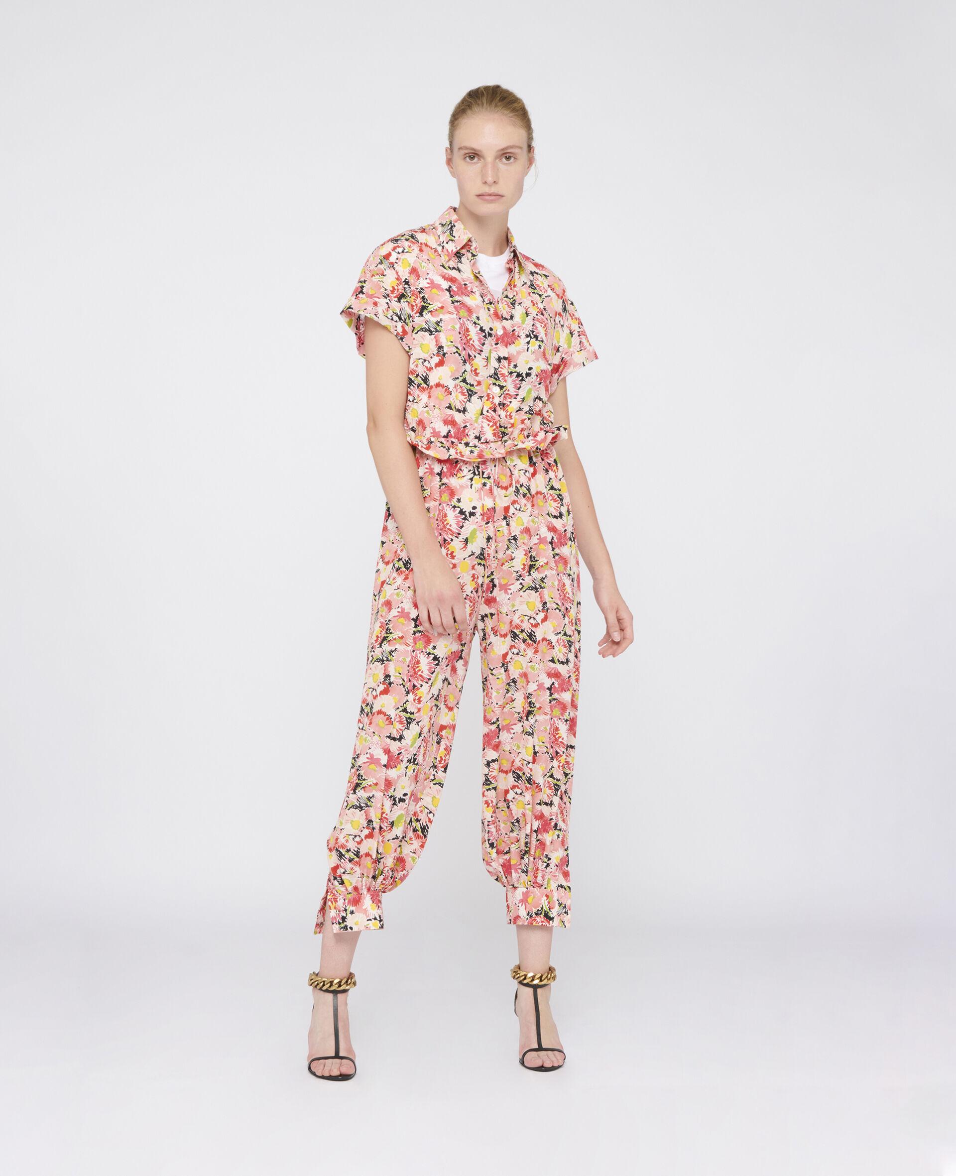 Stella McCartney Tuta a maniche corte multicolor stampa floreale, collo a camicia, abbottonatura a 3/4
