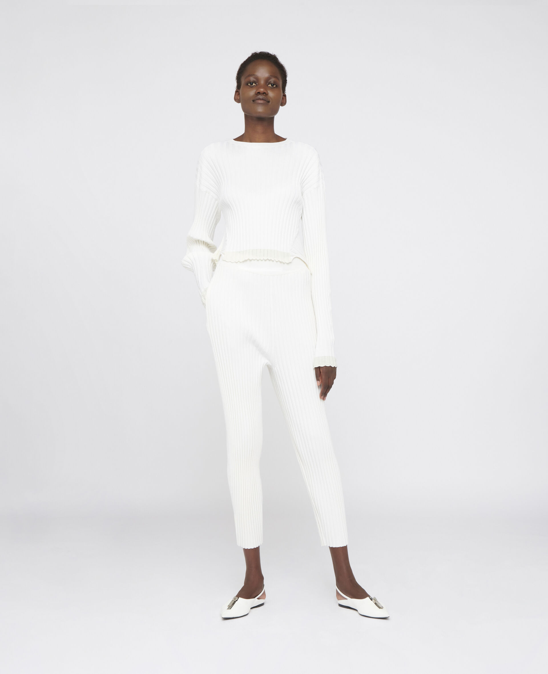 Rib-Knit Trousers-White-large image number 1