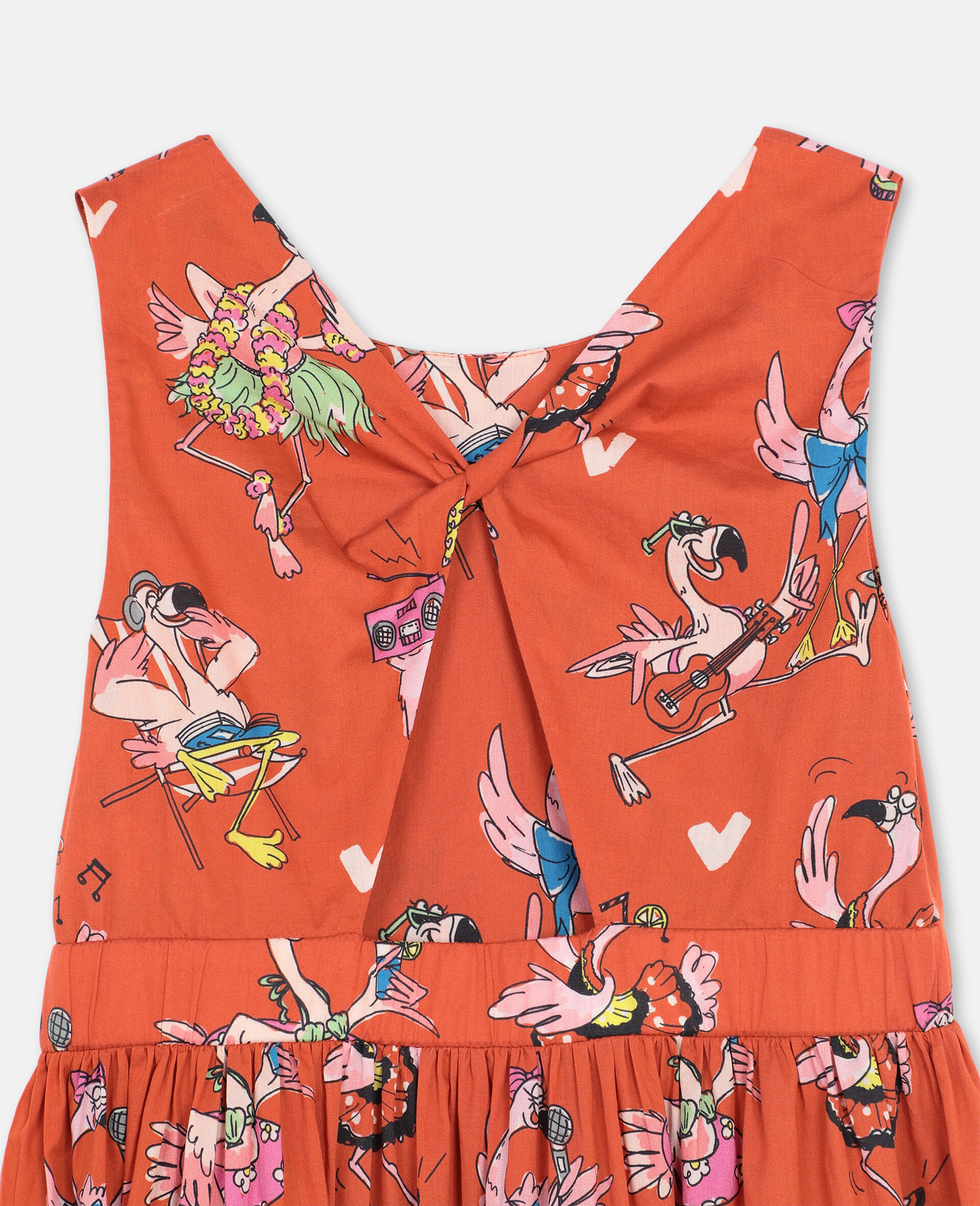 Flamingo Party Cotton Dress-Red-large image number 2