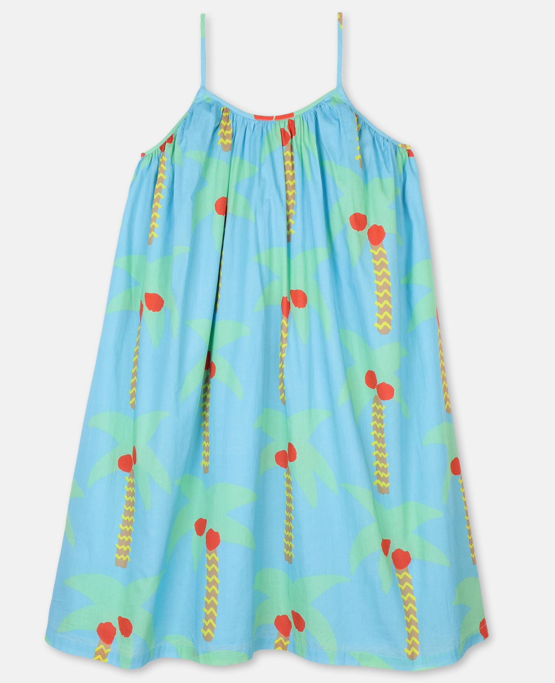 Palm Trees Cotton Dress-Green-large image number 0