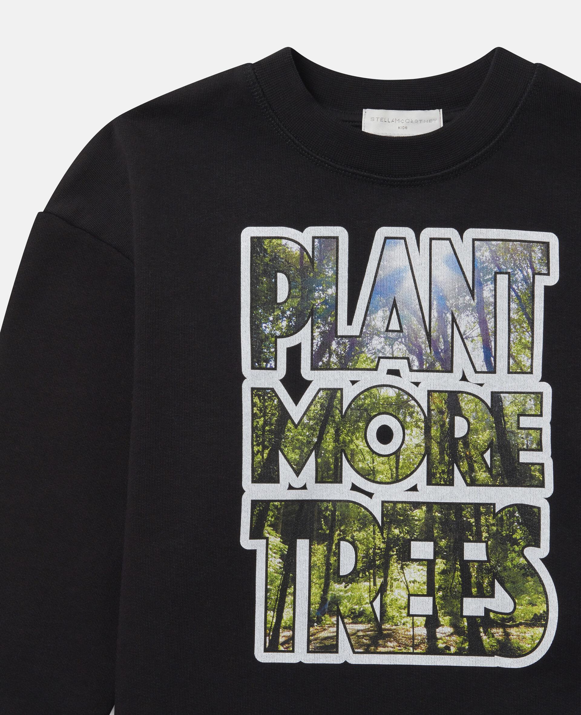 Oversized 'Plant More Trees' Fleece Sweatshirt-Black-large image number 1