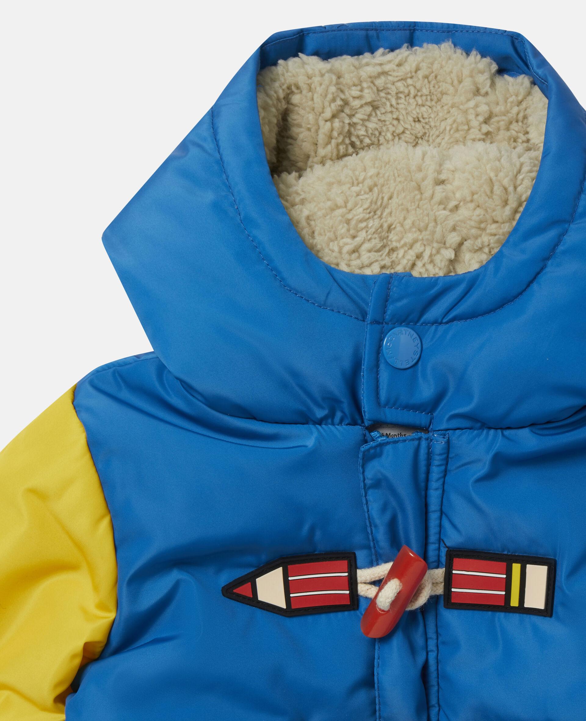 Colourblock Pencil Puffer Jacket-Multicolour-large image number 1