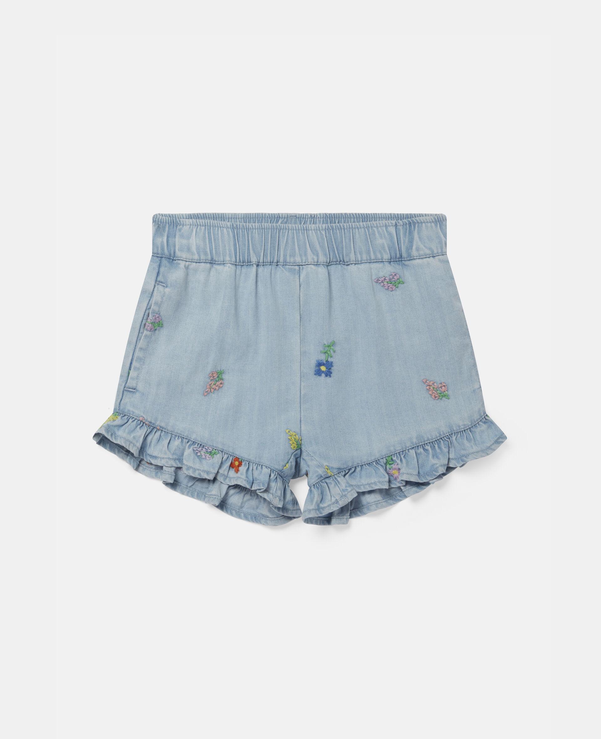 Denim-Shorts mit Blumenstickerei-Blau-large image number 0