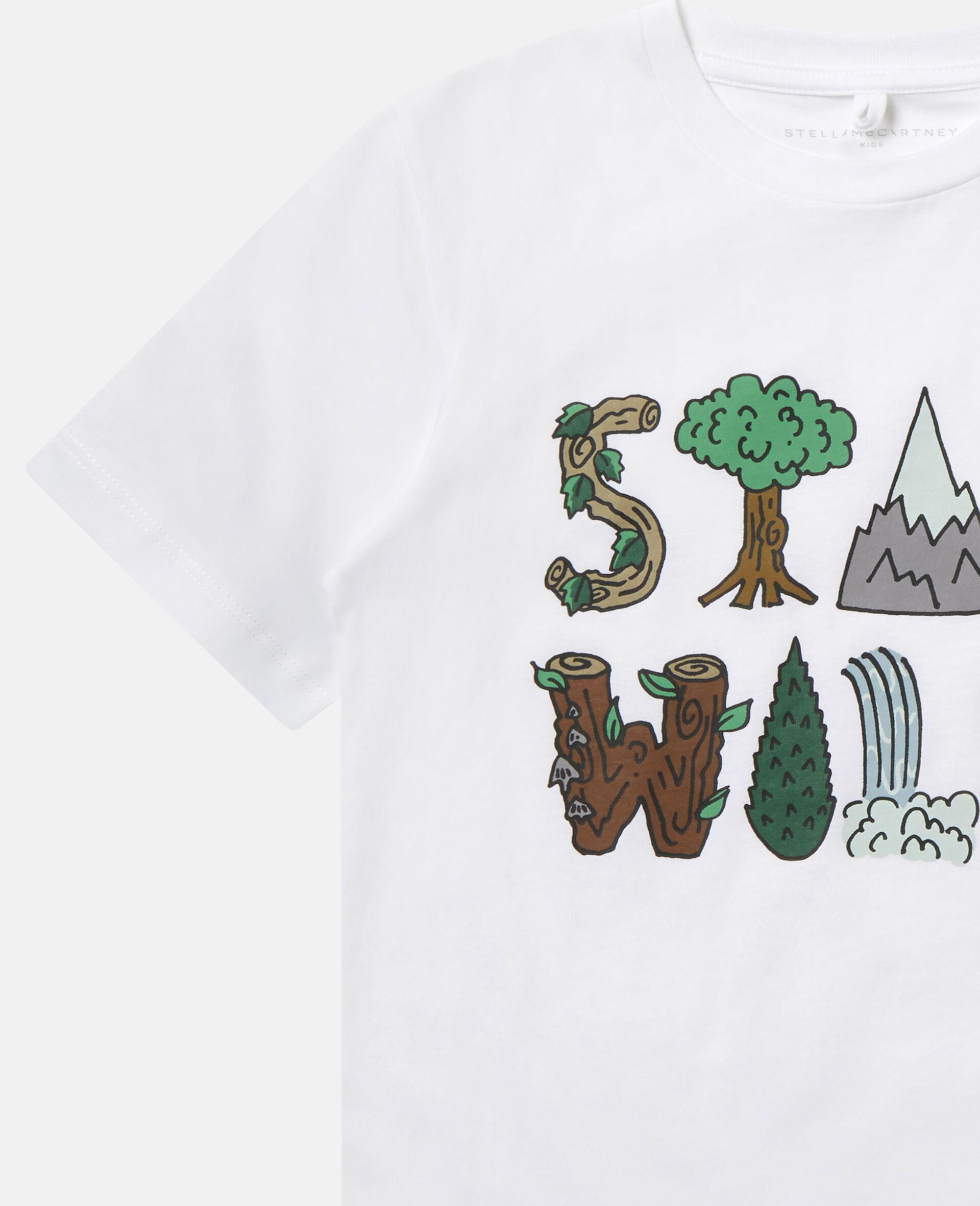 "Baumwoll-T-Shirt mit ""Stay Wild""-Print-Weiß-large image number 2"