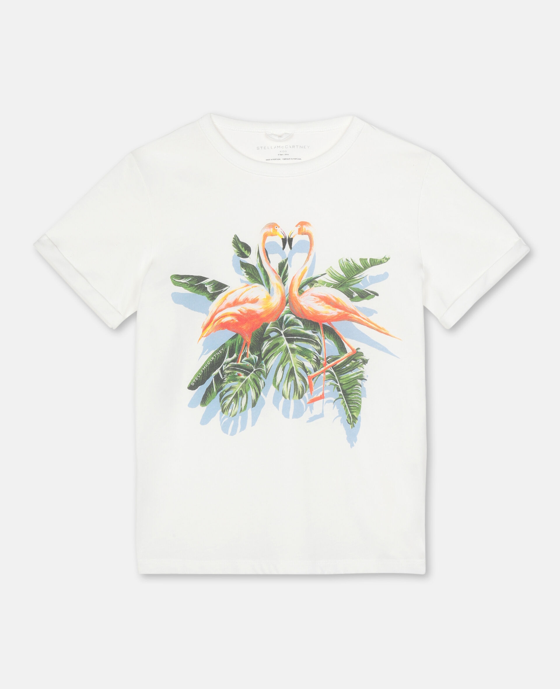 Painty Flamingo Cotton T-shirt -White-large image number 0