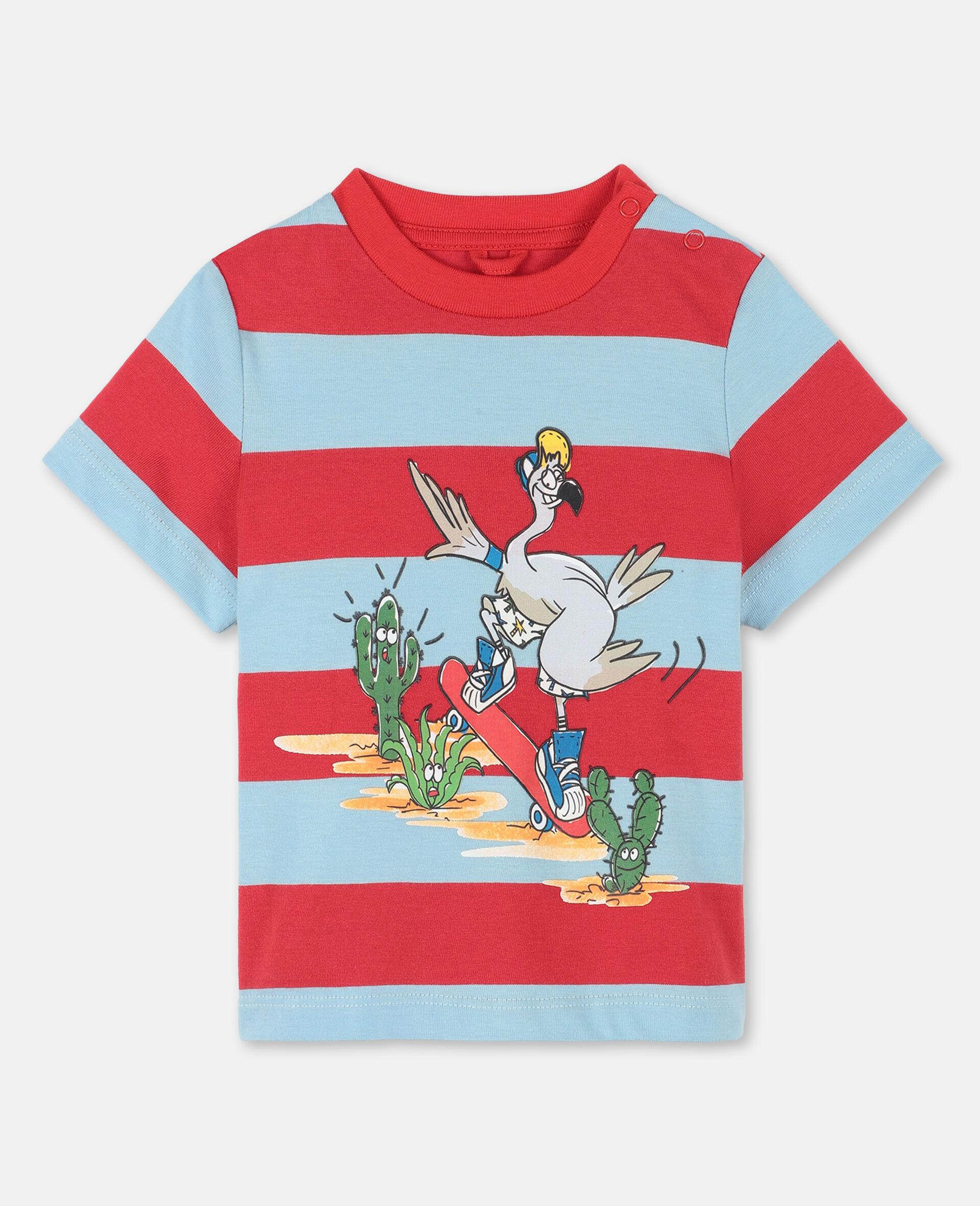 T-shirt en coton avec motif flamants roses -Rouge-large image number 0