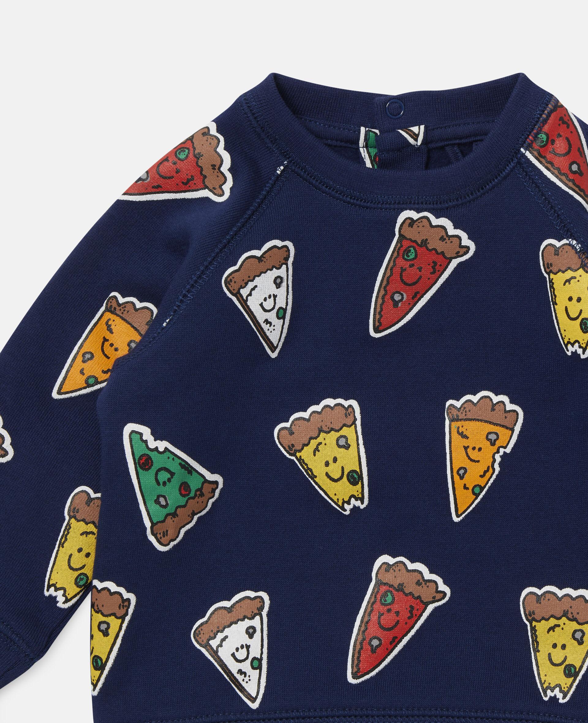 Fleece-Sweatshirt mit Pizzamotiv-Blau-large image number 1