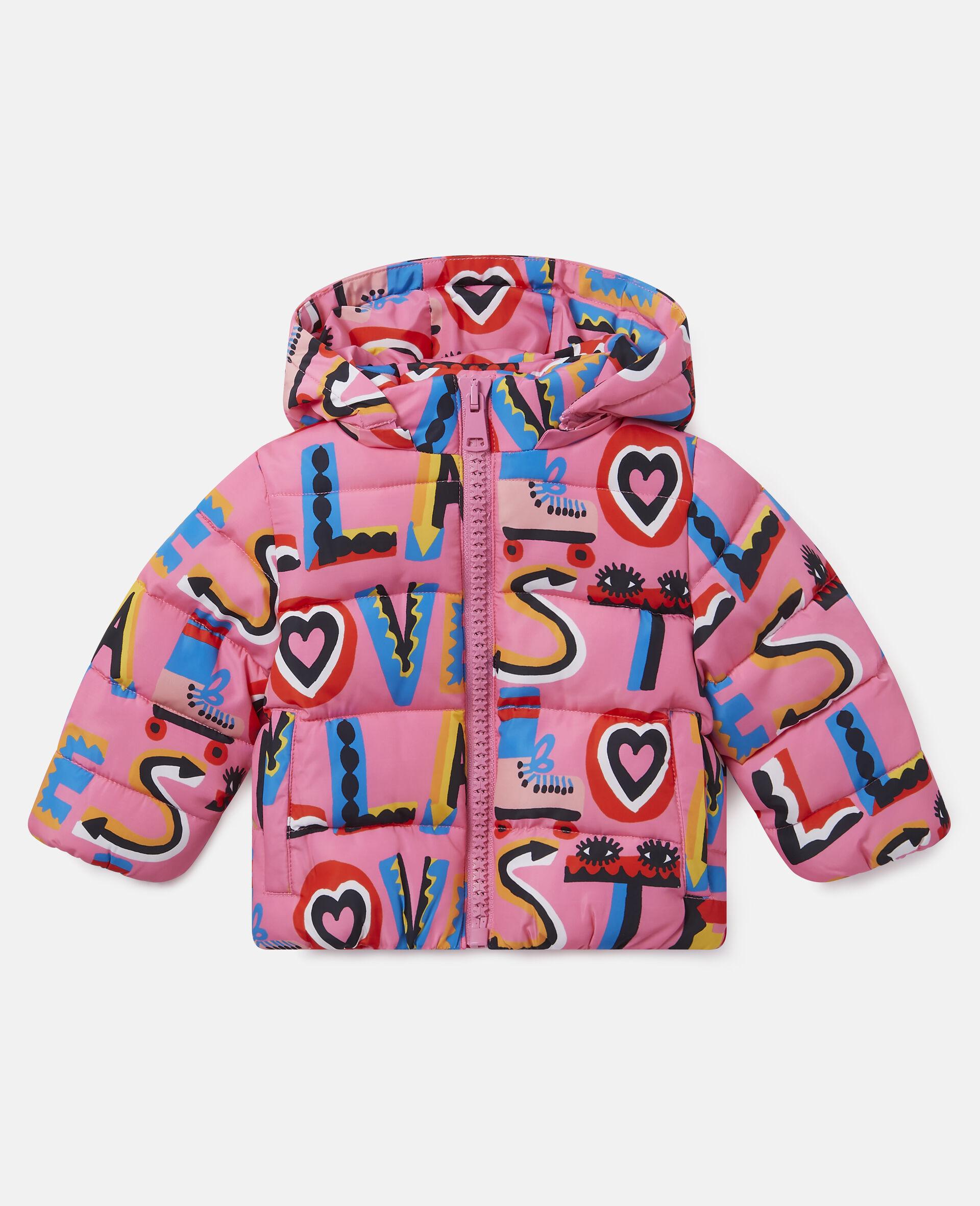 Stella Loves Hooded Puffer Jacket-Pink-large image number 0