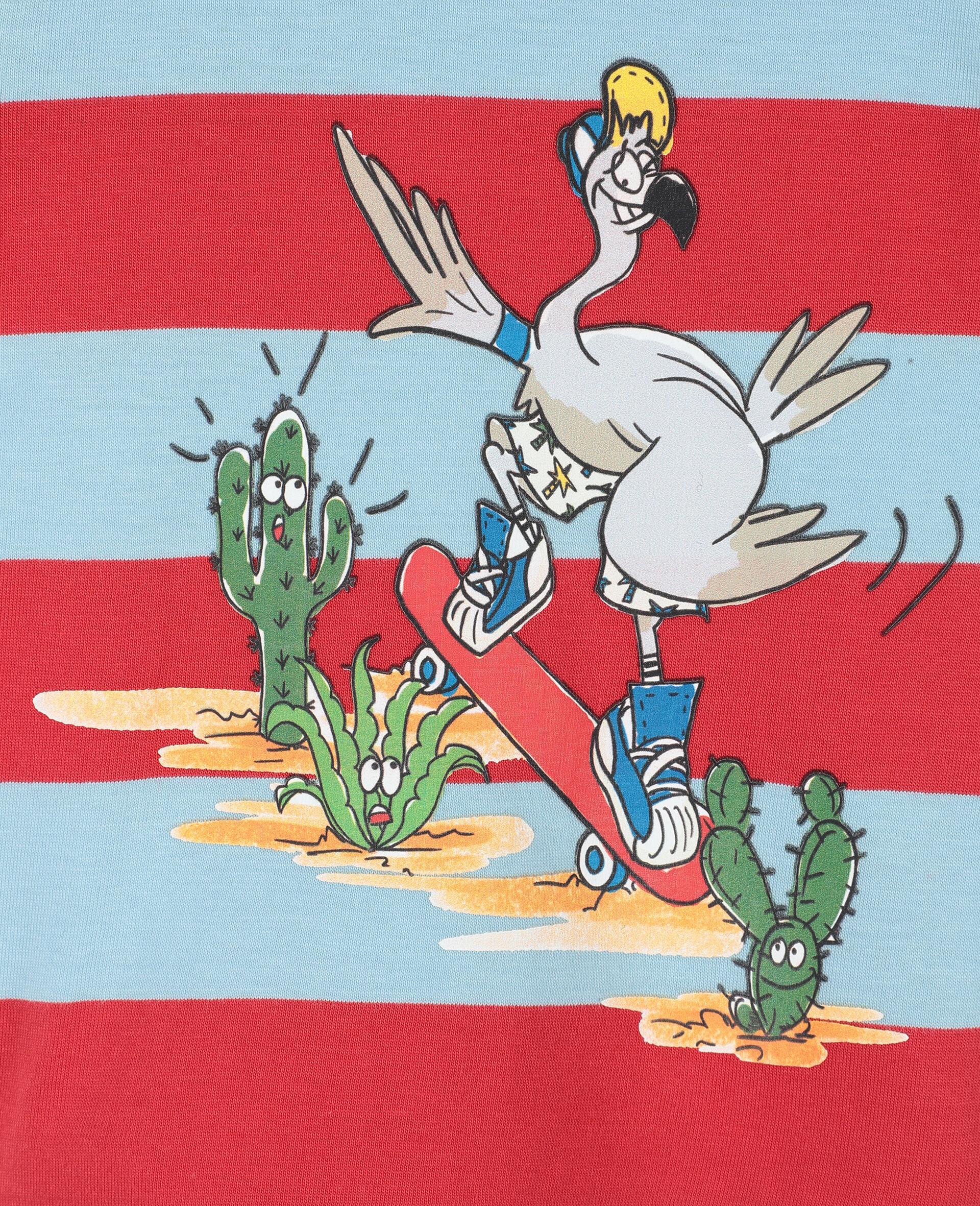 T-shirt en coton avec motif flamants roses -Rouge-large image number 1