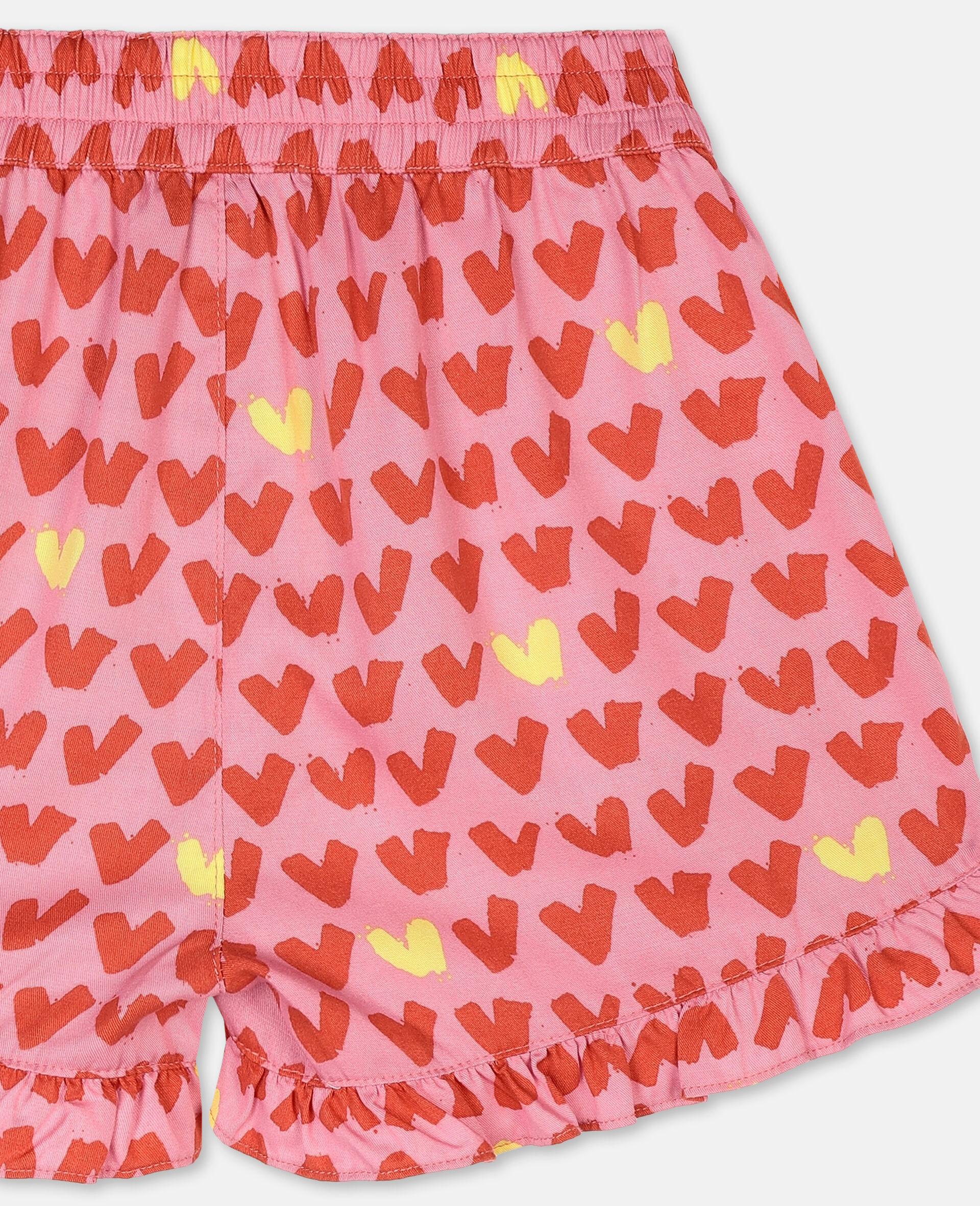 Hearts Viscose Twill Shorts -Pink-large image number 2