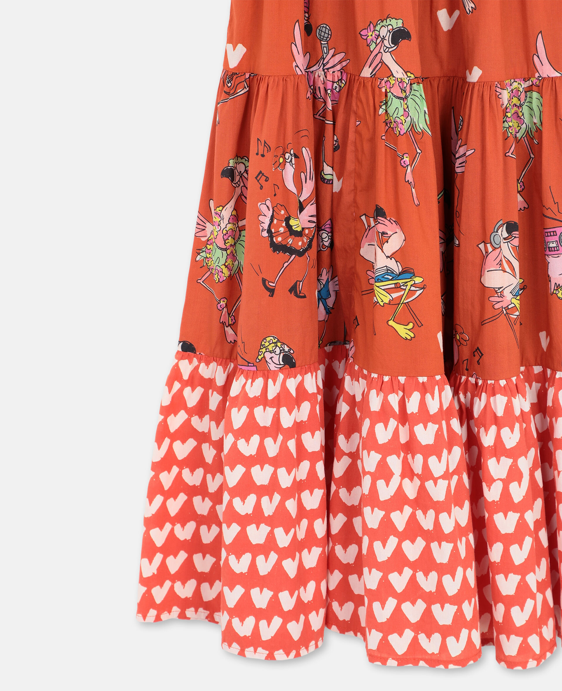 Flamingo Party Cotton Dress-Red-large image number 1