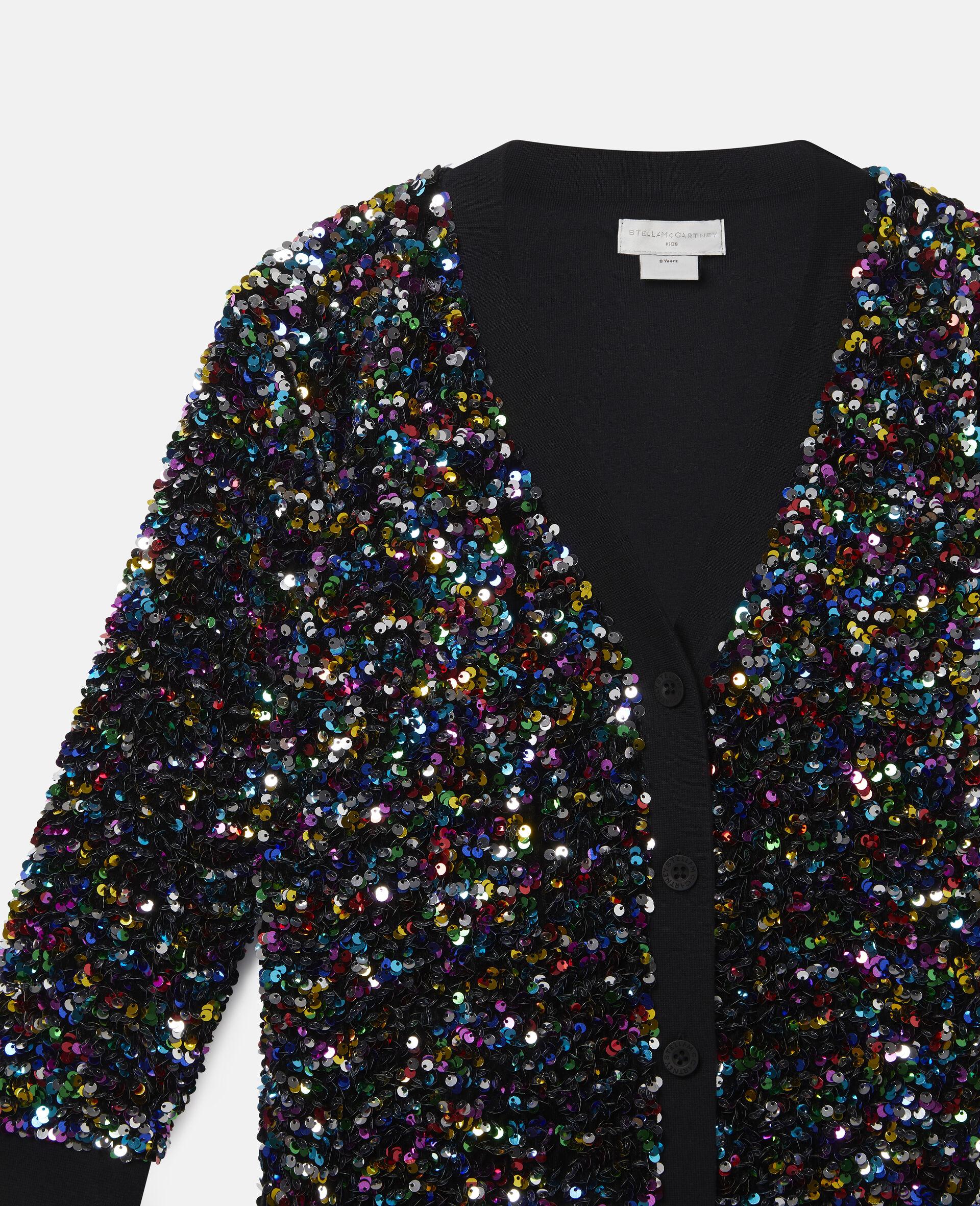 Sequinned Fleece Cardigan-Multicolour-large image number 1
