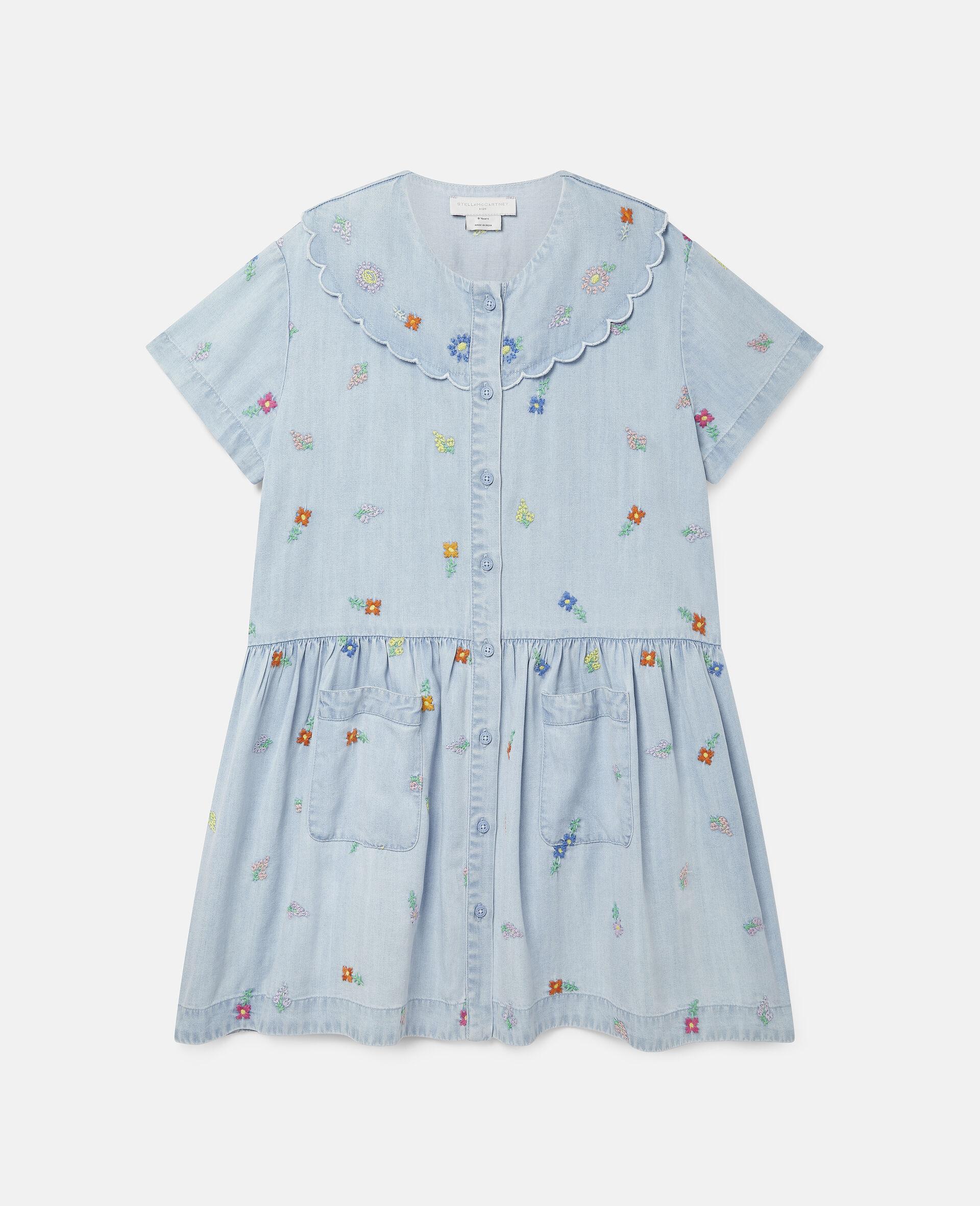 Robe en denim à fleurs brodées-Bleu-large image number 0