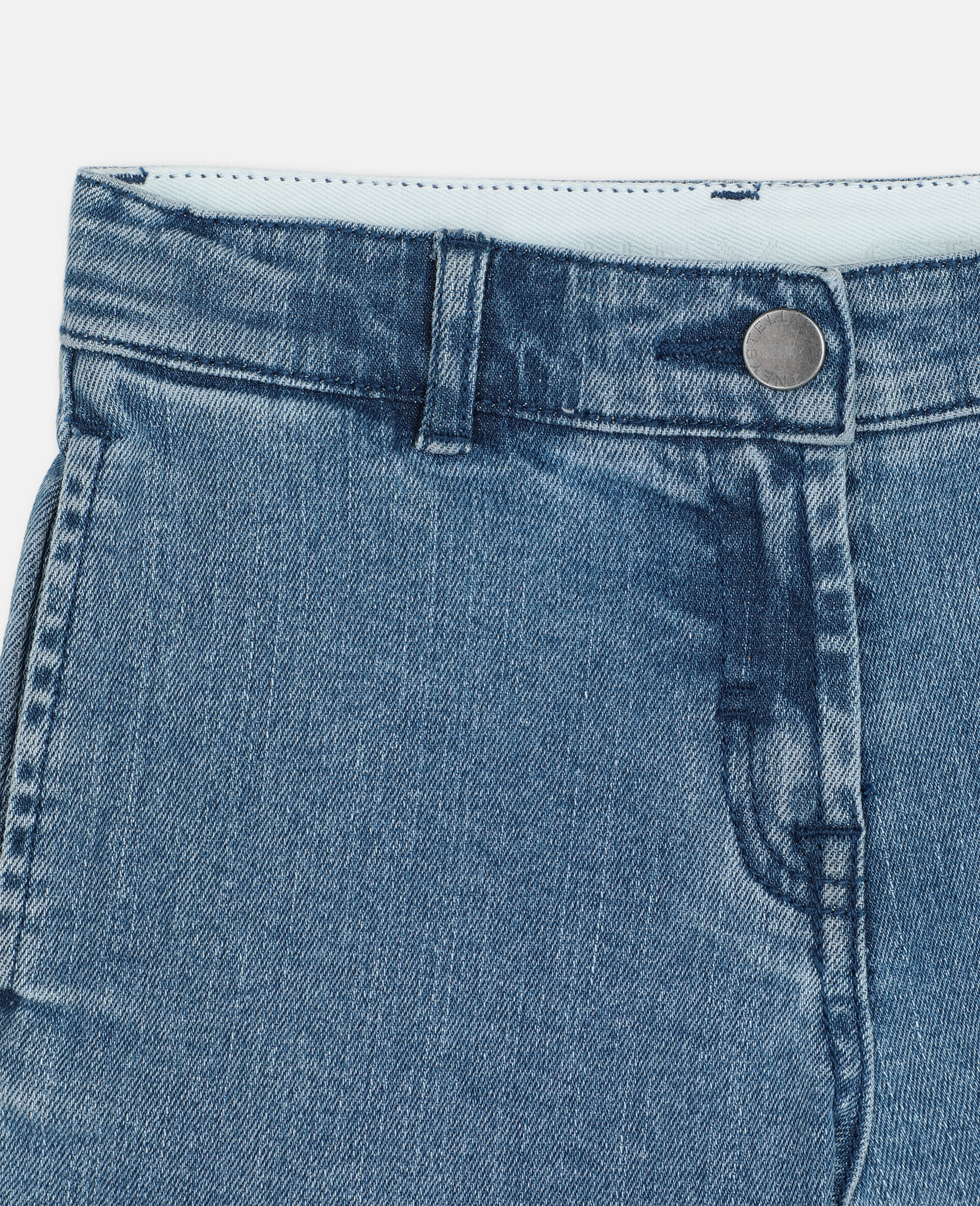 Butterfly Patch Denim Shorts -Blue-large image number 1
