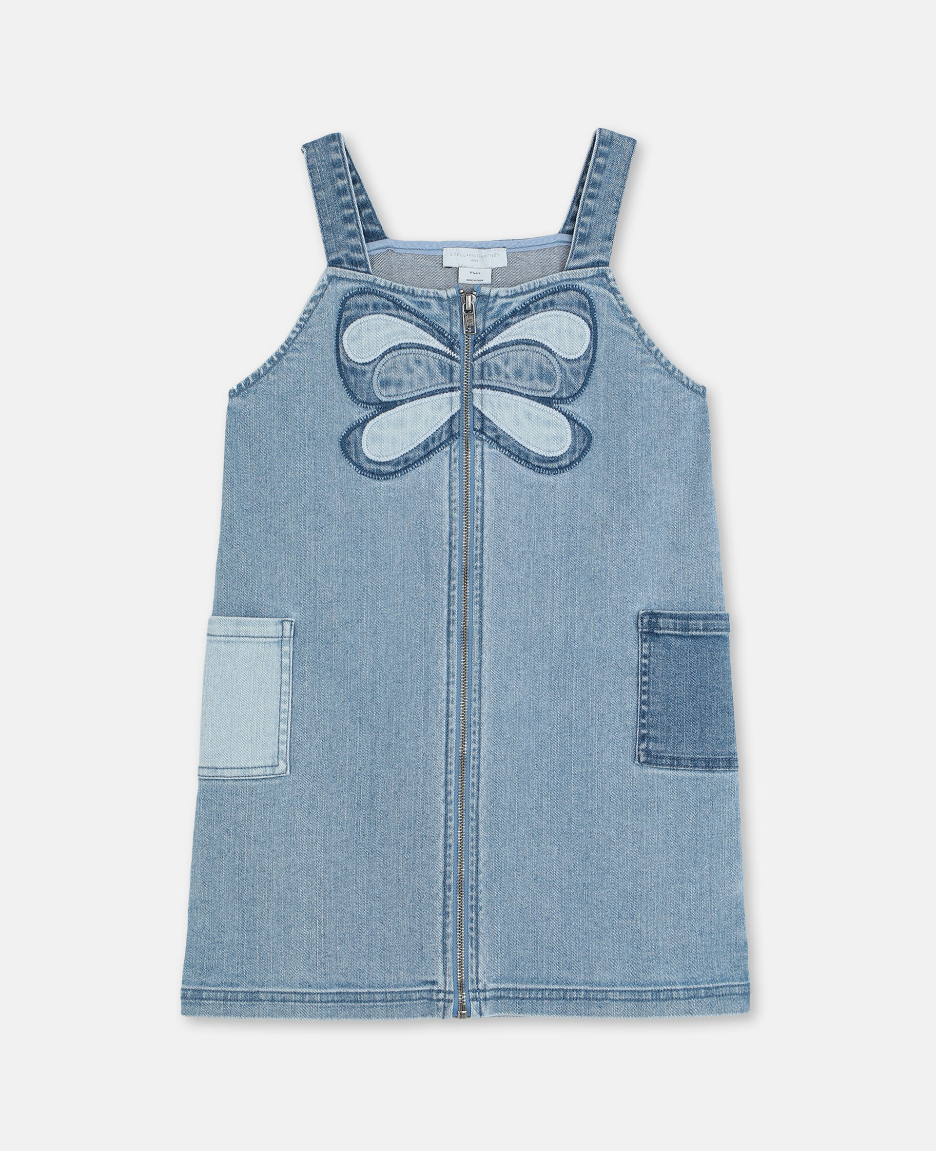Butterfly Denim  Dress-Blue-large image number 0