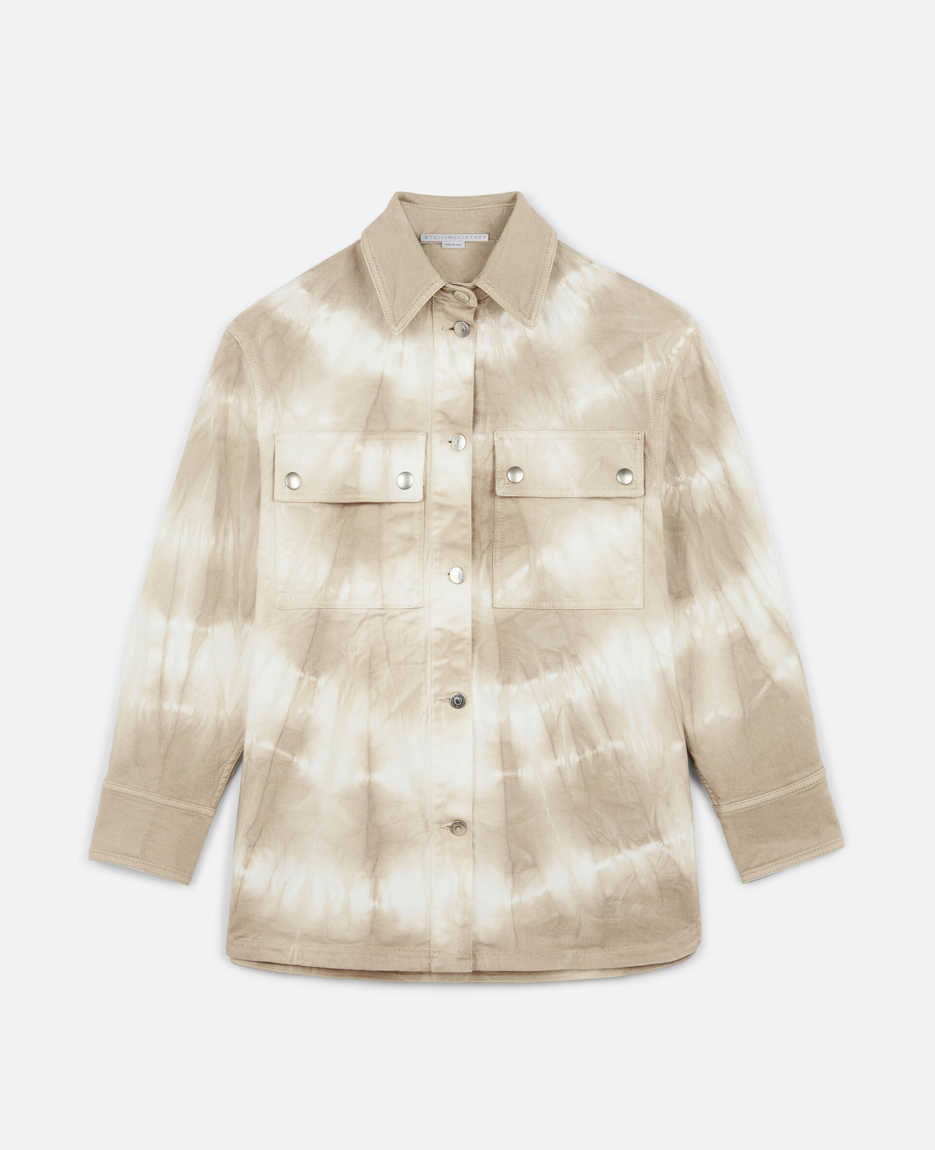 Tie-Dye Denim Shirt-Beige-large image number 0