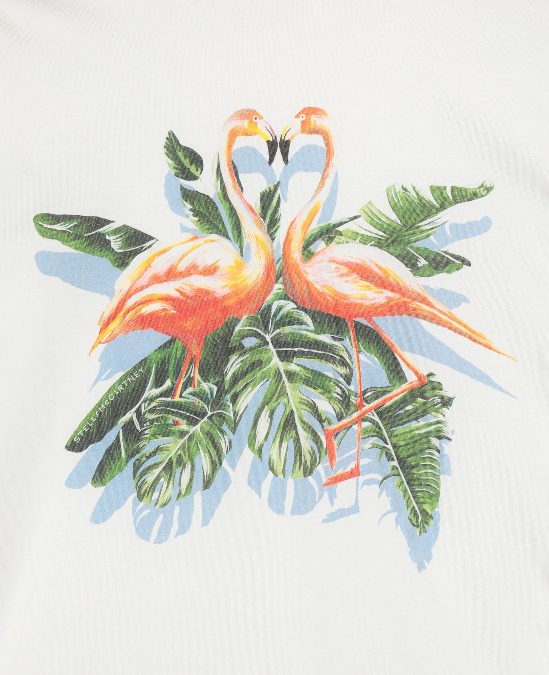 Painty Flamingo Cotton T-shirt -White-large image number 1