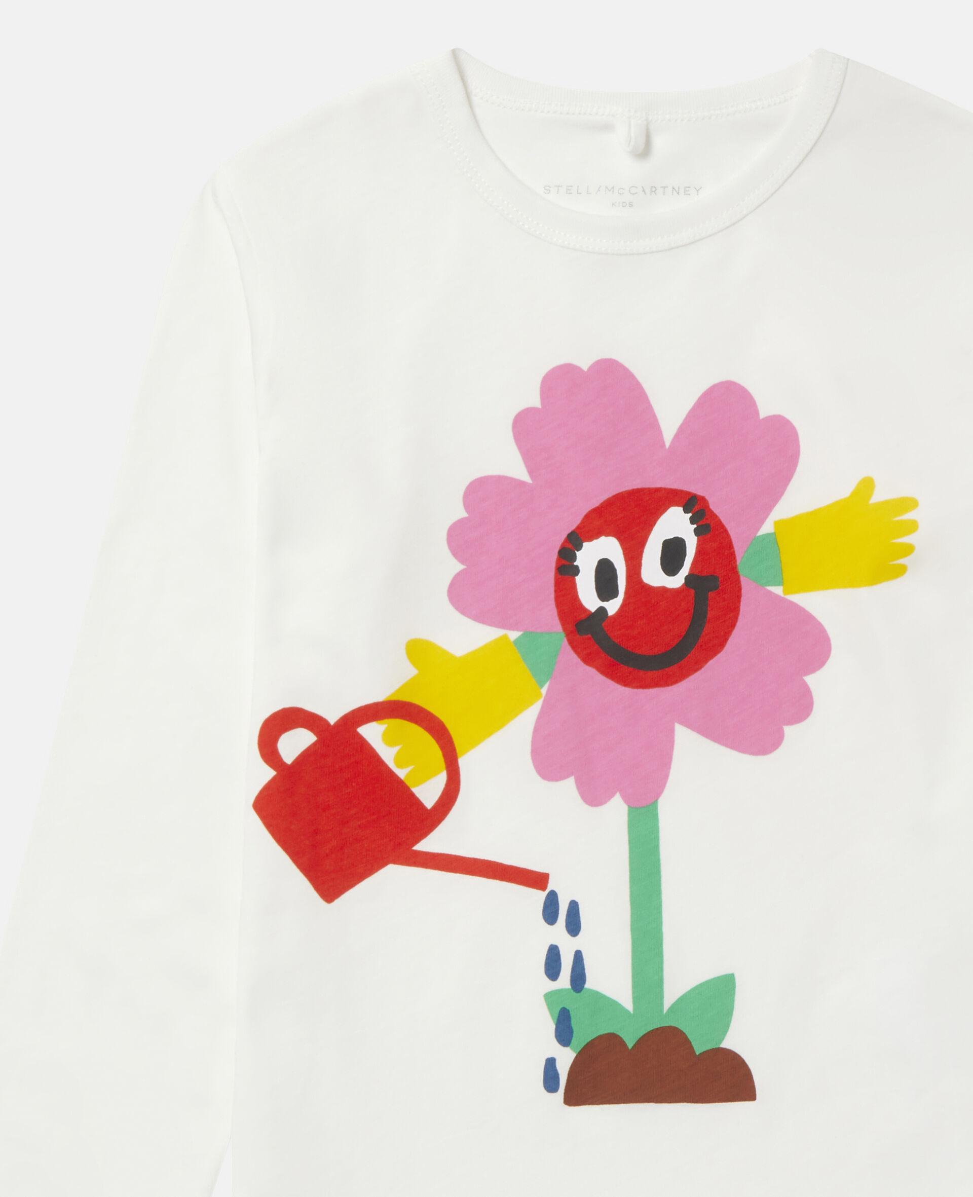 T-Shirt in Cotone con Fiore che si Innaffia -Bianco-large image number 1