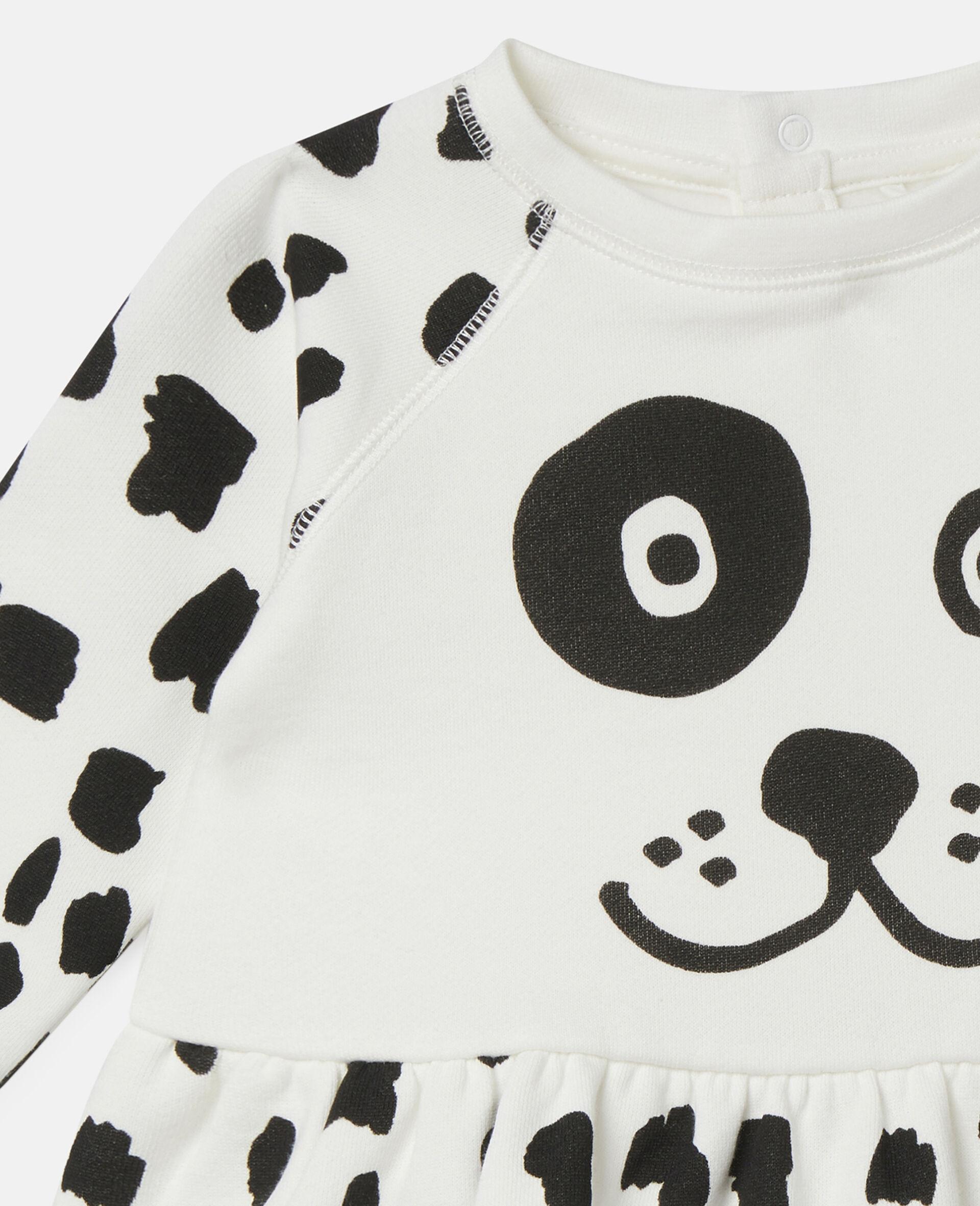 Dalmatian Sports Fleece Dress-White-large image number 2