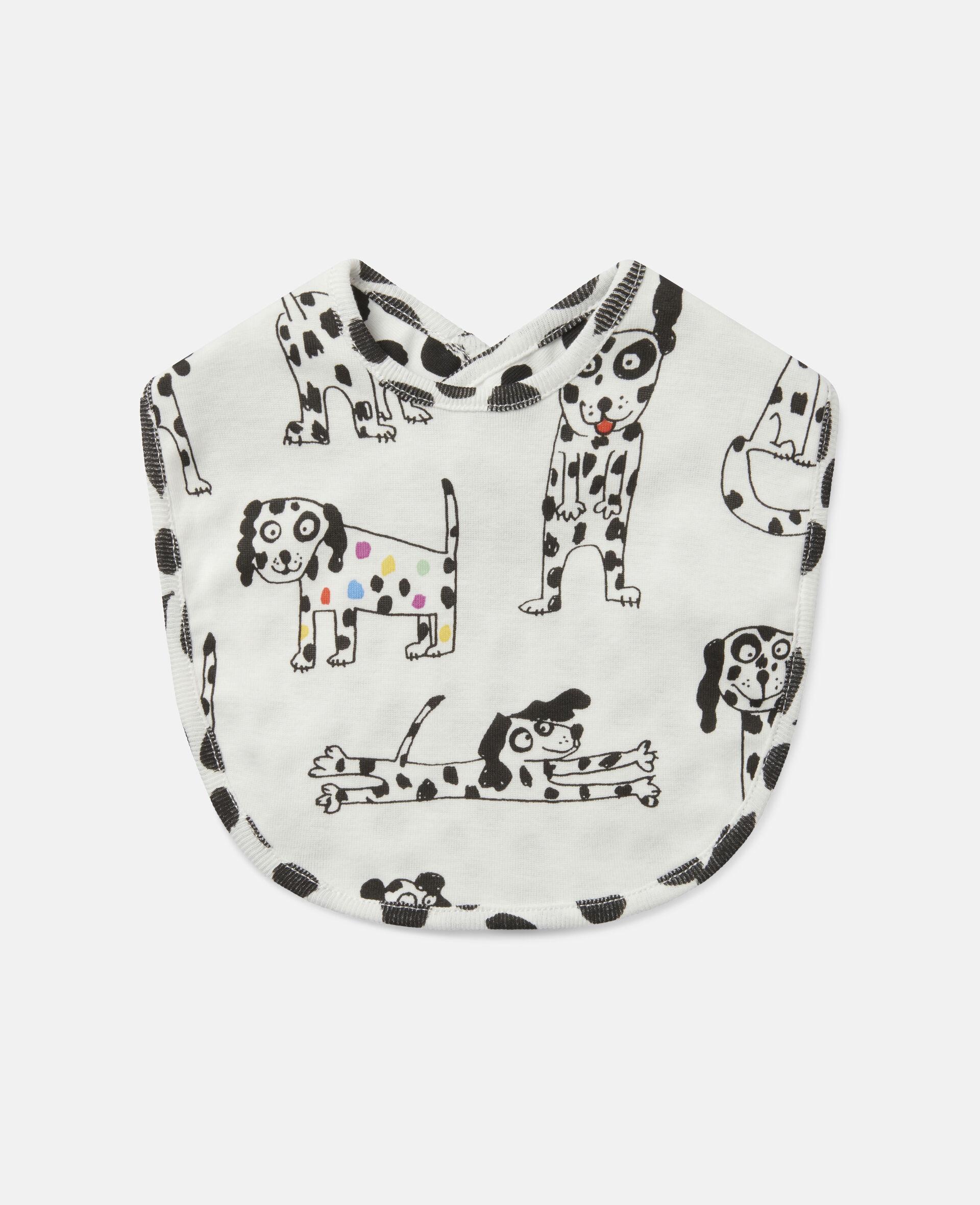 Lätzchen-Set aus geripptem Jersey mit Dalmatiner-Motiv-Weiß-large image number 1