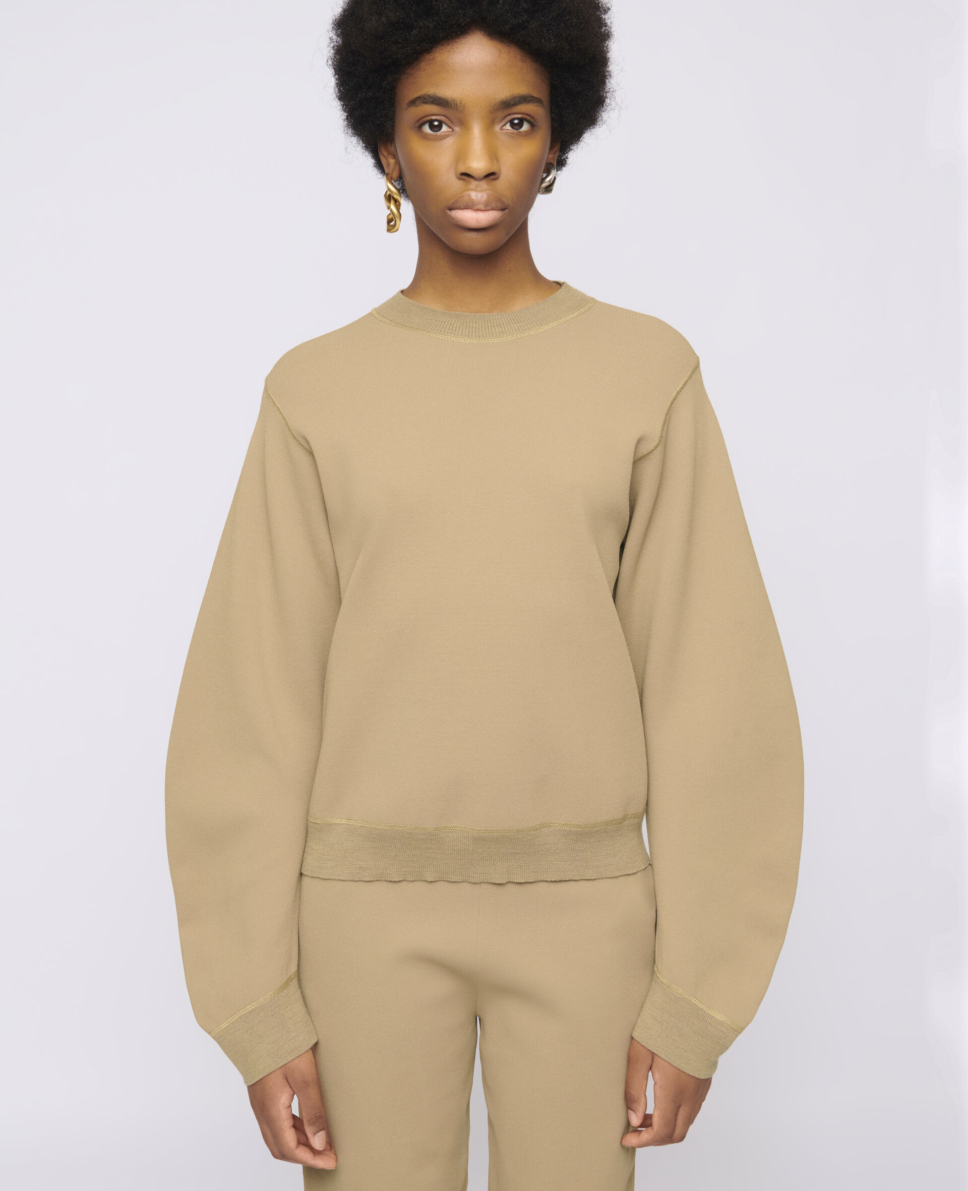 Compact Knit Sweater-Brown-large image number 3
