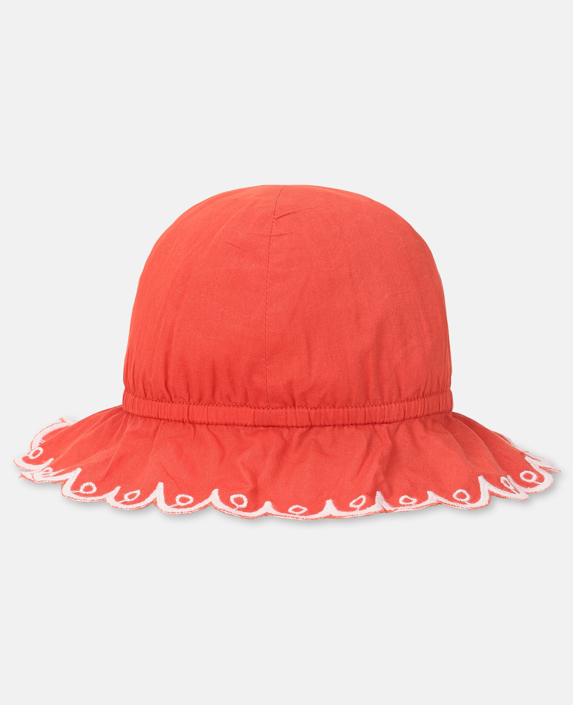 Scalloped Cotton Hat -Red-large image number 1