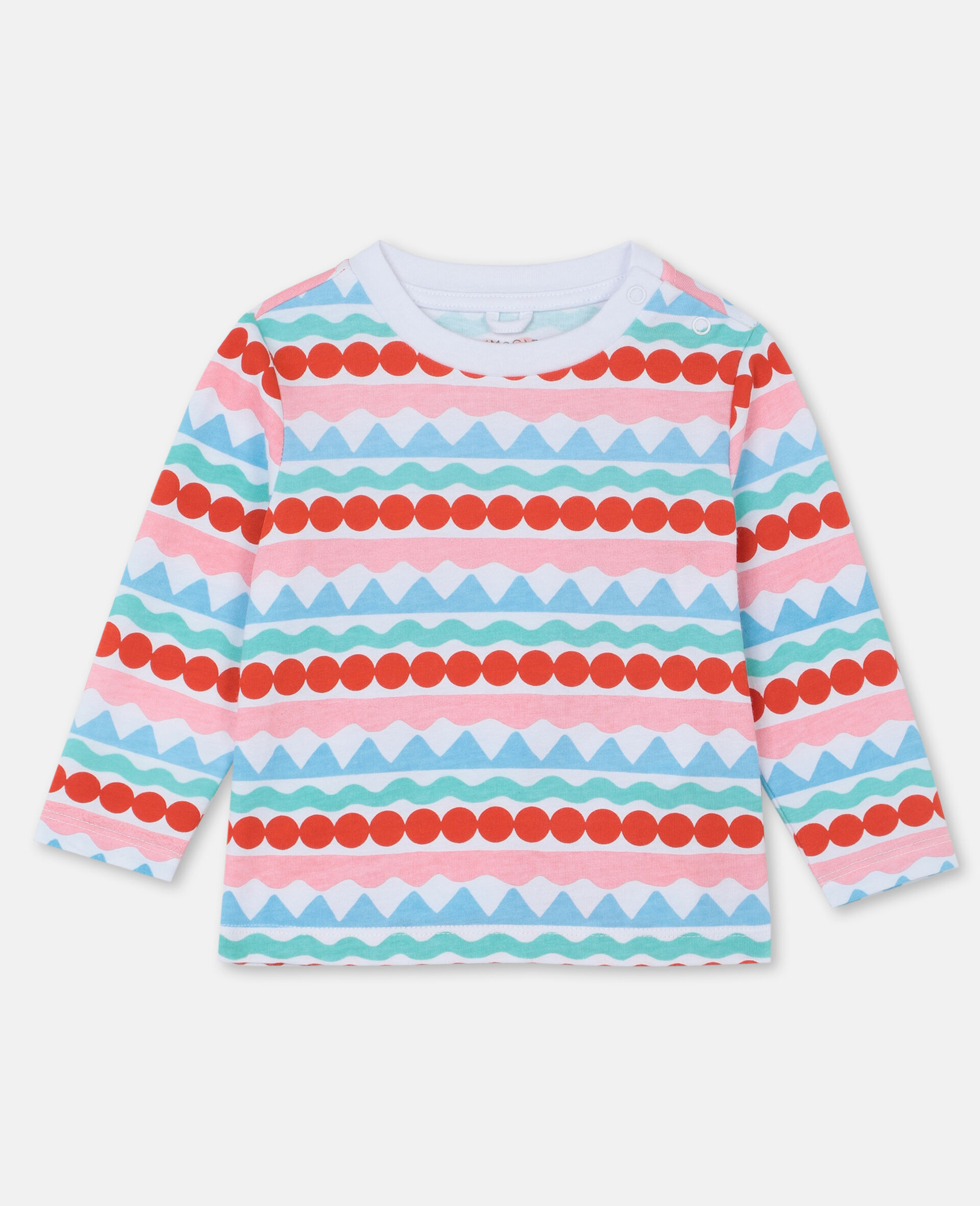 Graphic Stripes Cotton T-shirt-Multicoloured-large image number 0