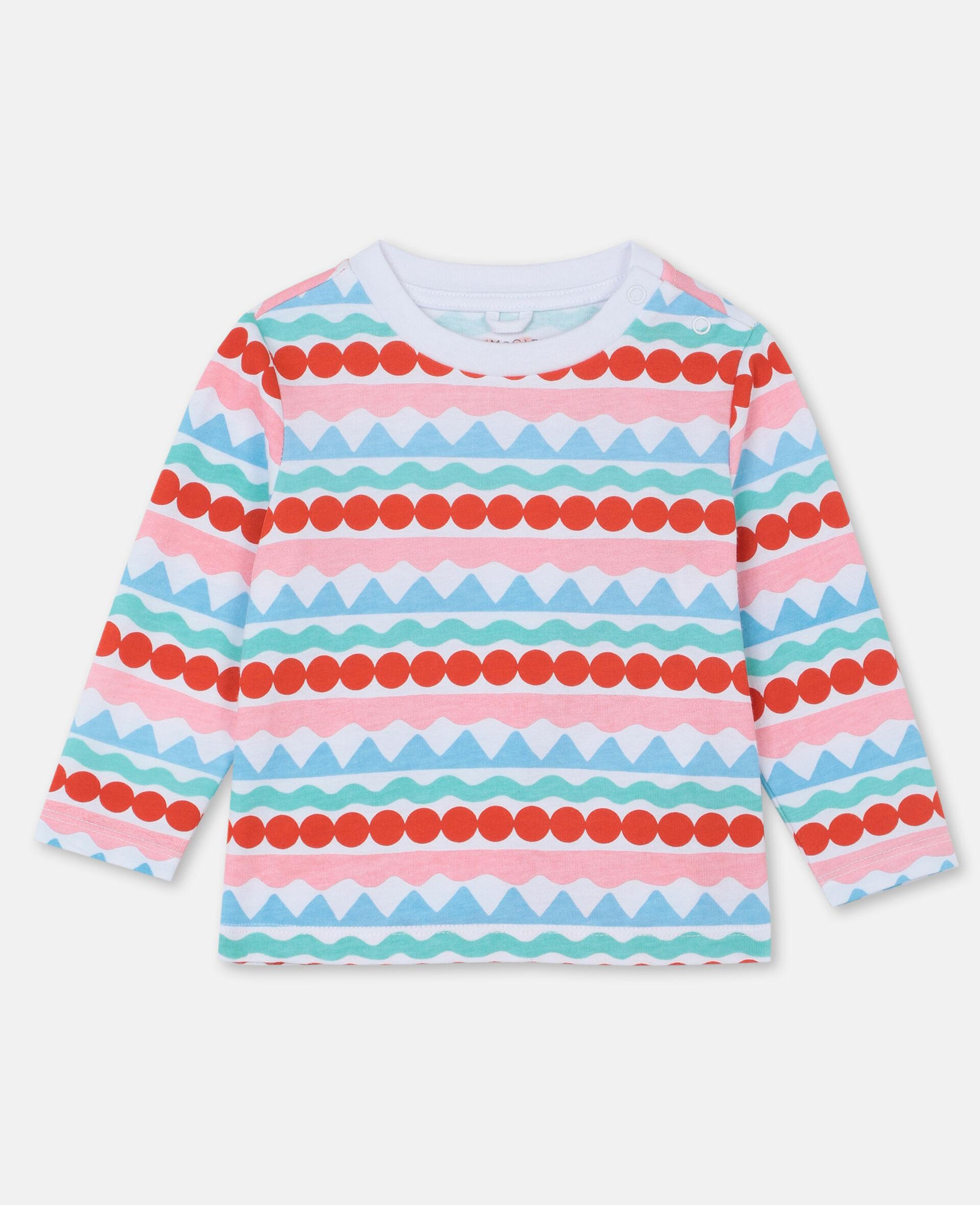 图形感条纹棉质 T 恤-Multicolored-large image number 0