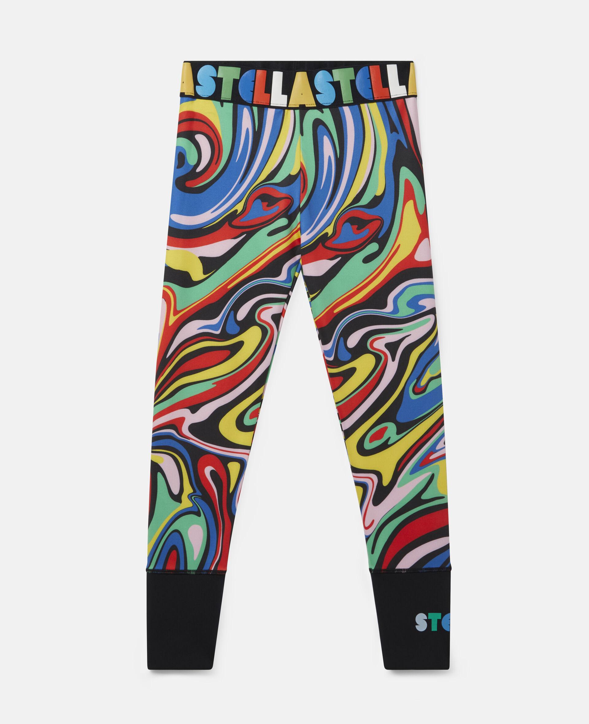 Sport-Leggings mit marmoriertem Print -Bunt-large image number 0