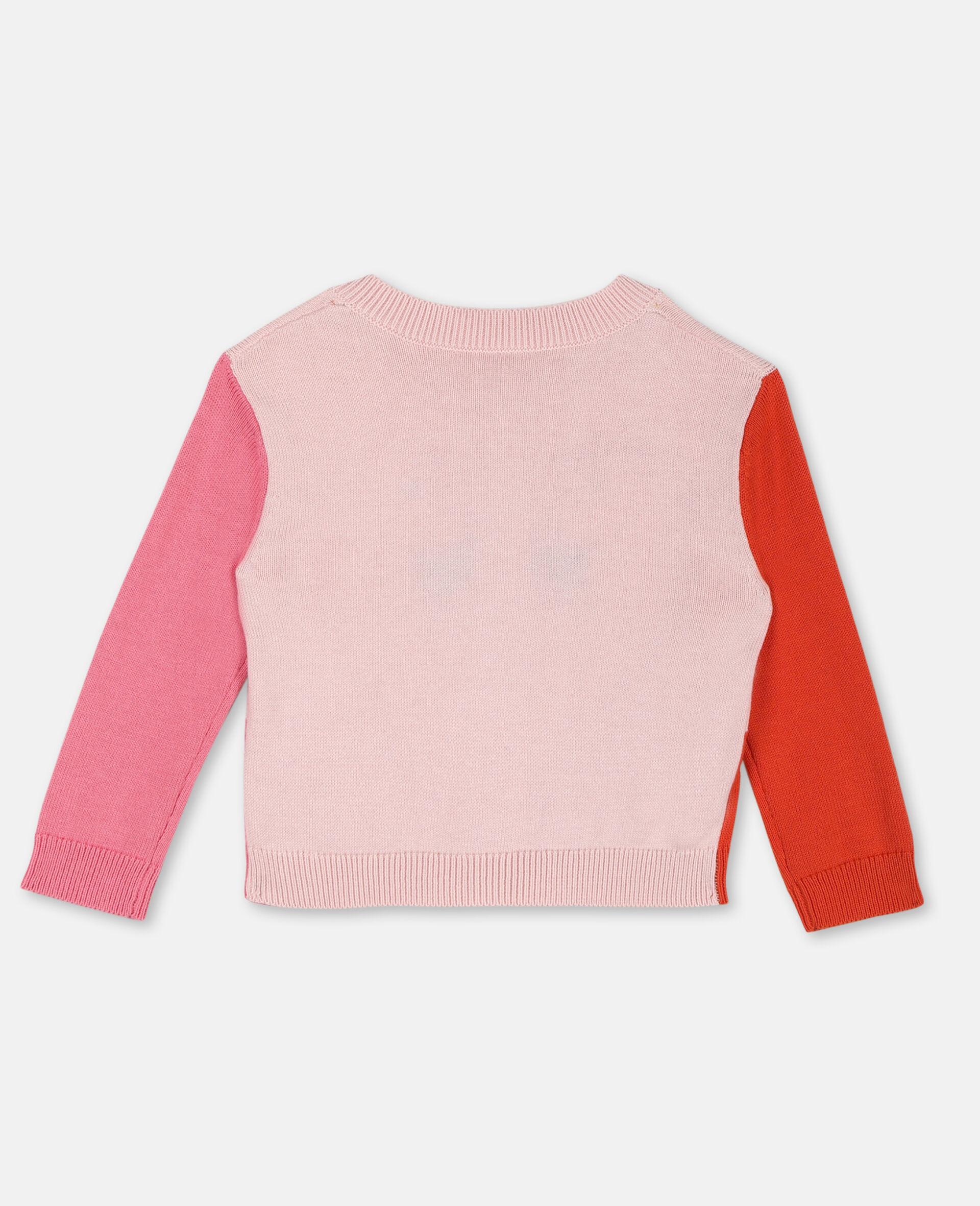 Flamingo Intarsia Knit Cotton Cardigan -Pink-large image number 3