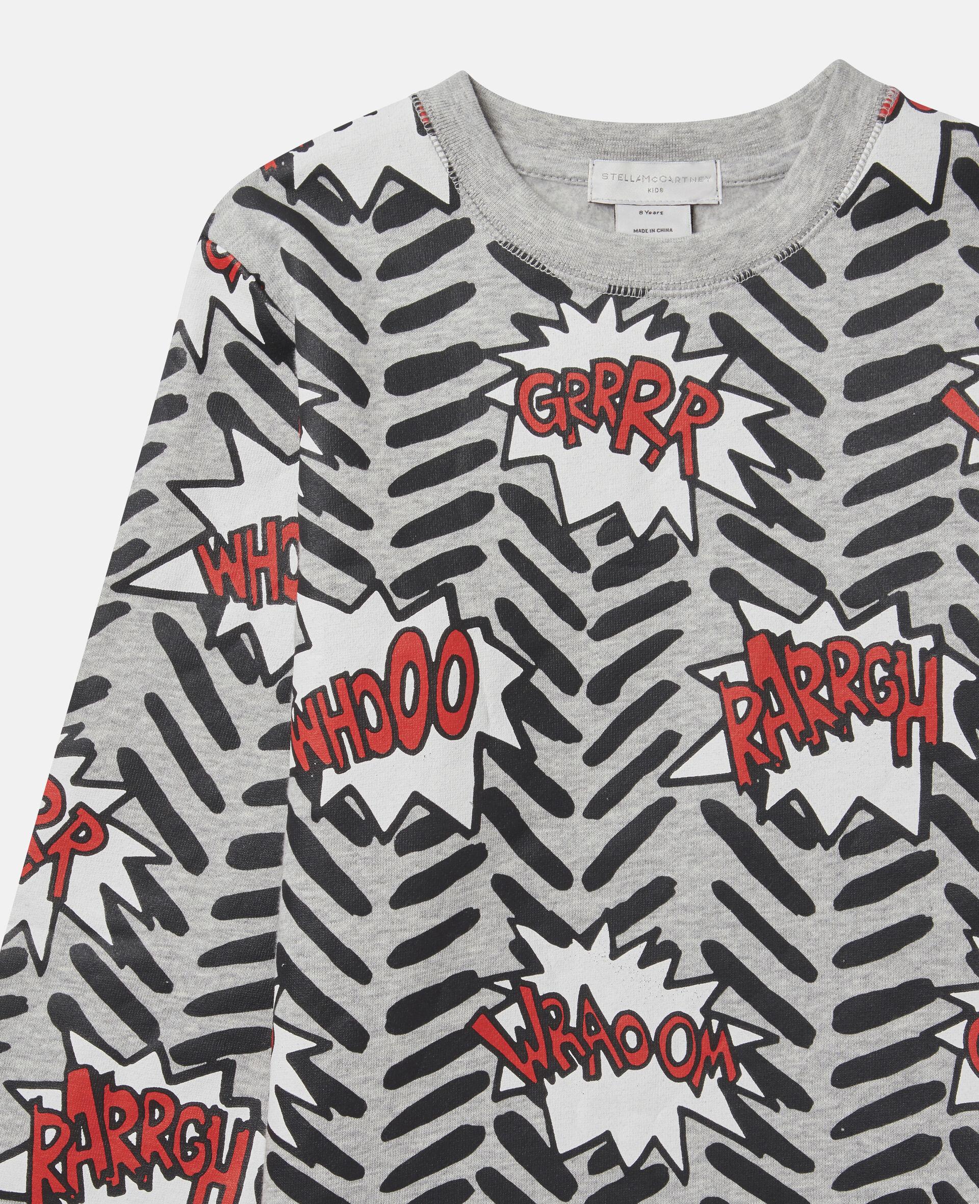 Comic Bubbles Fleece Sweatshirt-Grey-large image number 1