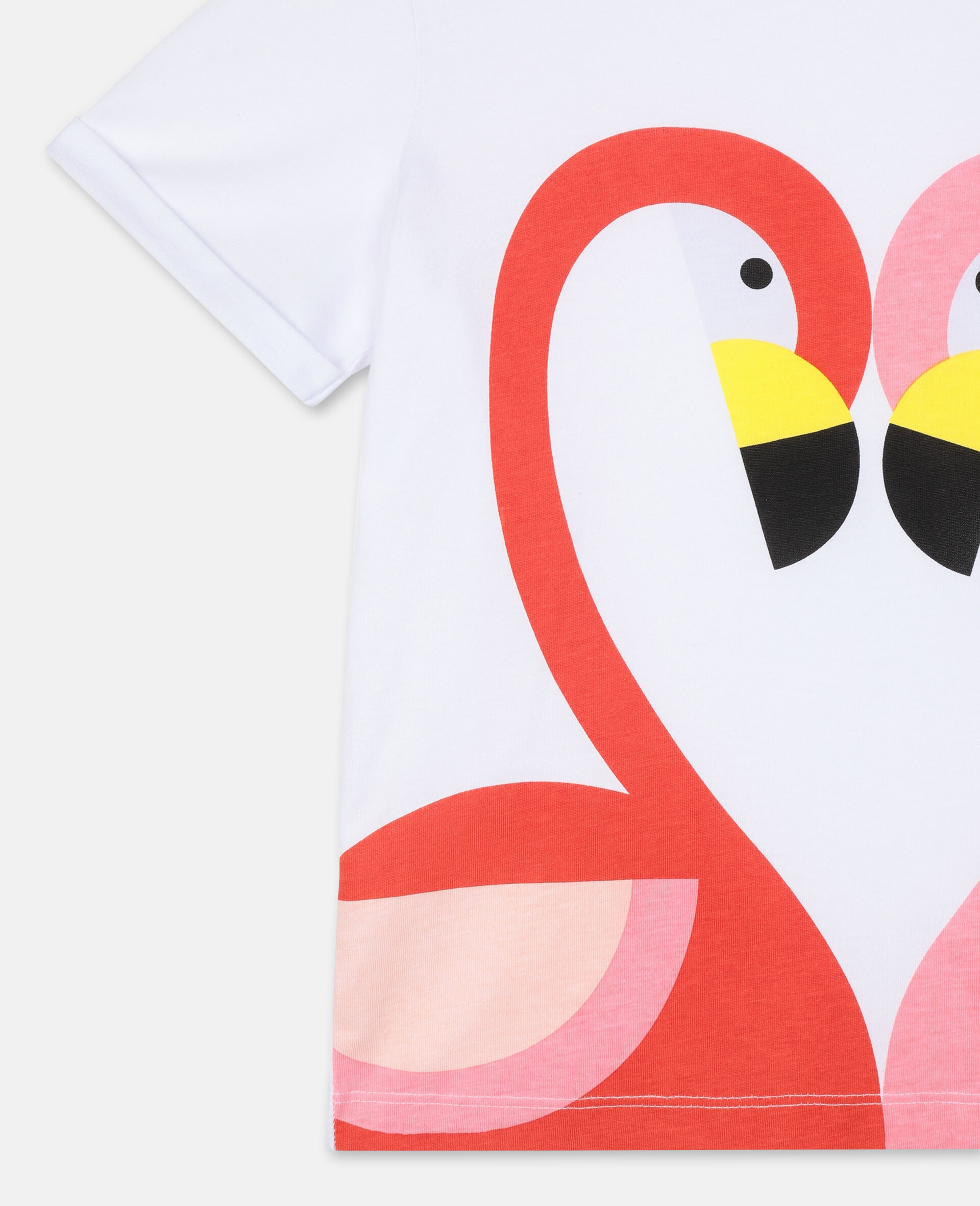 Flamingo Cotton T-shirt-White-large image number 2