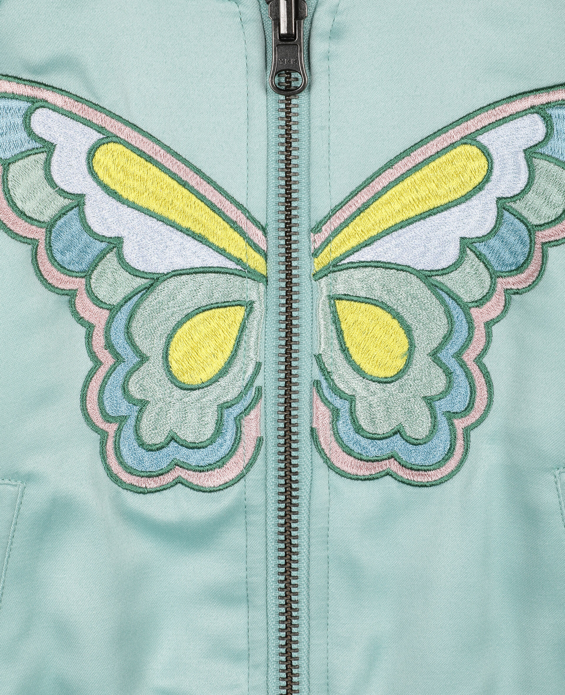 Butterfly Satin Bomber -Green-large image number 3