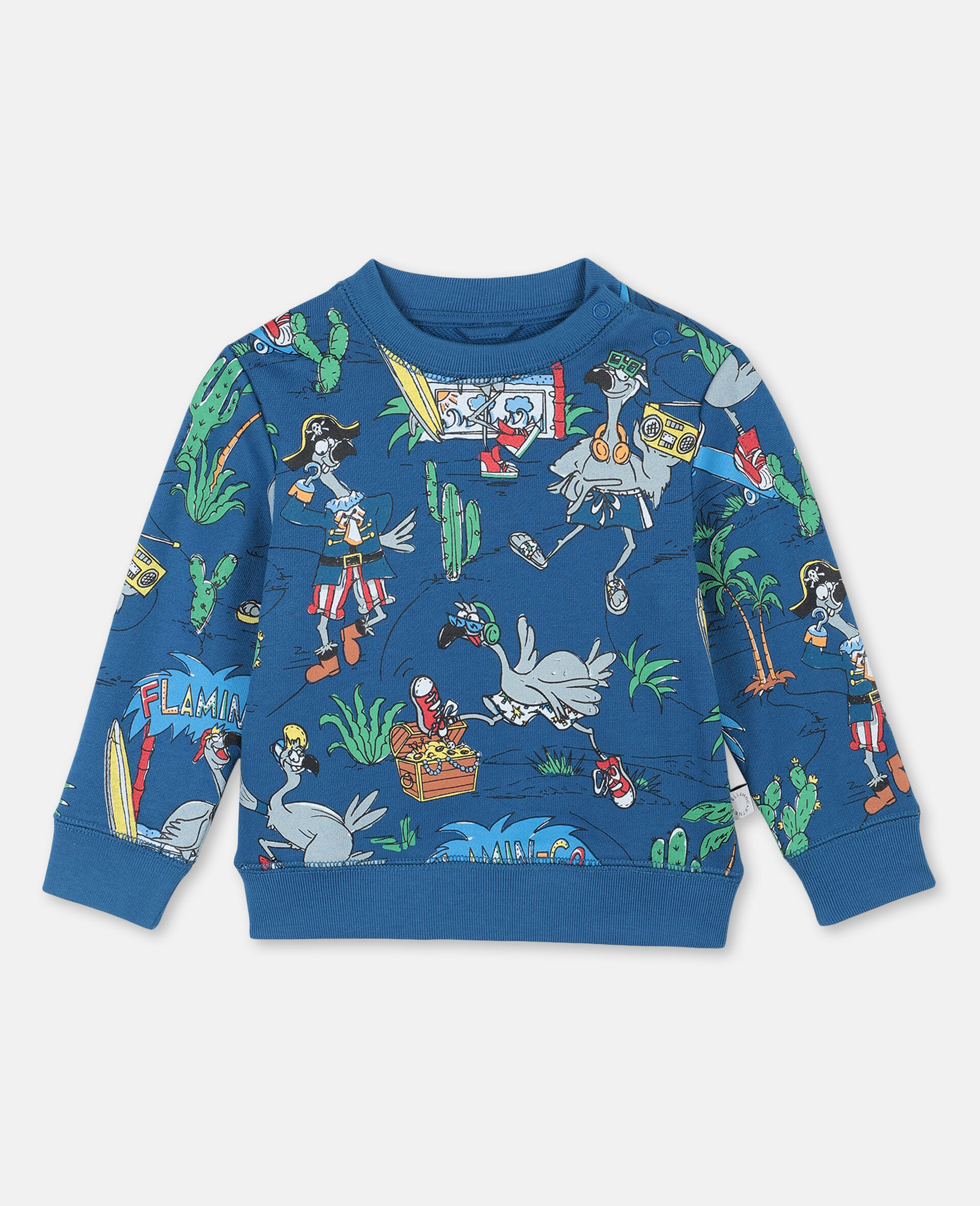 Sweat-shirt à motif planète flamants roses -Bleu-large image number 0